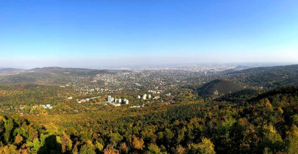view of the Buda hills from Elizabeth Lookout Tower