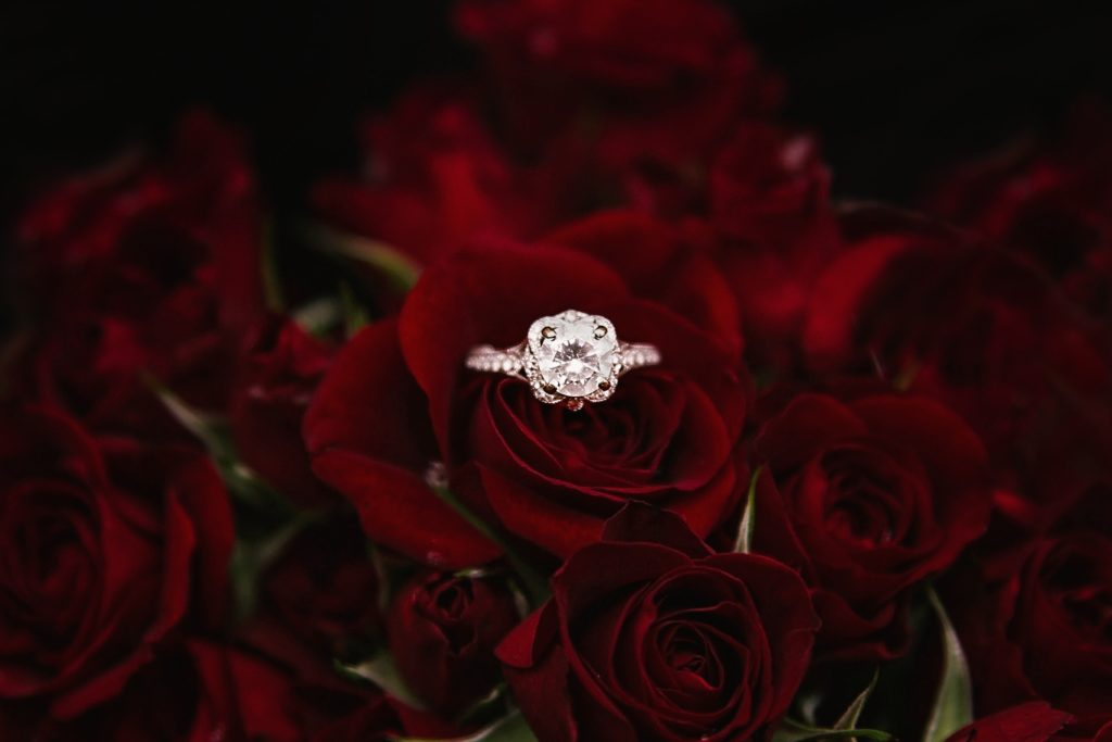 diamond ring in a bed of roses