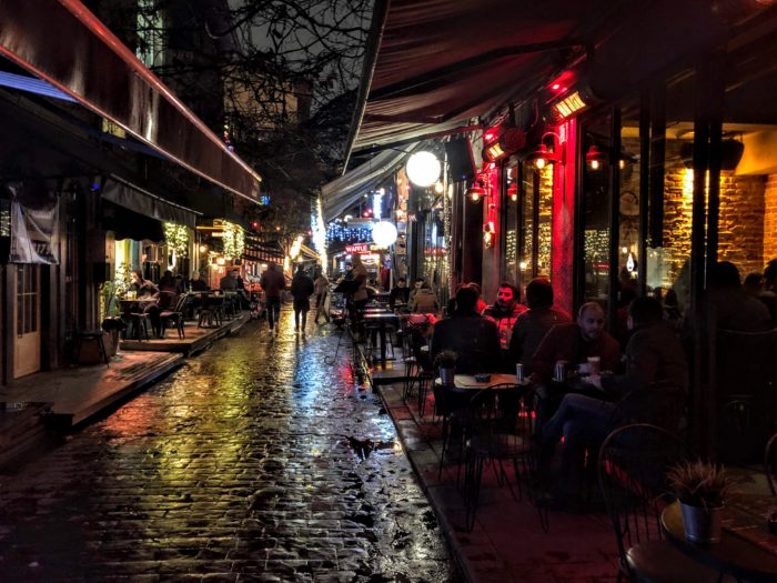 Karakoy neighborhood at night