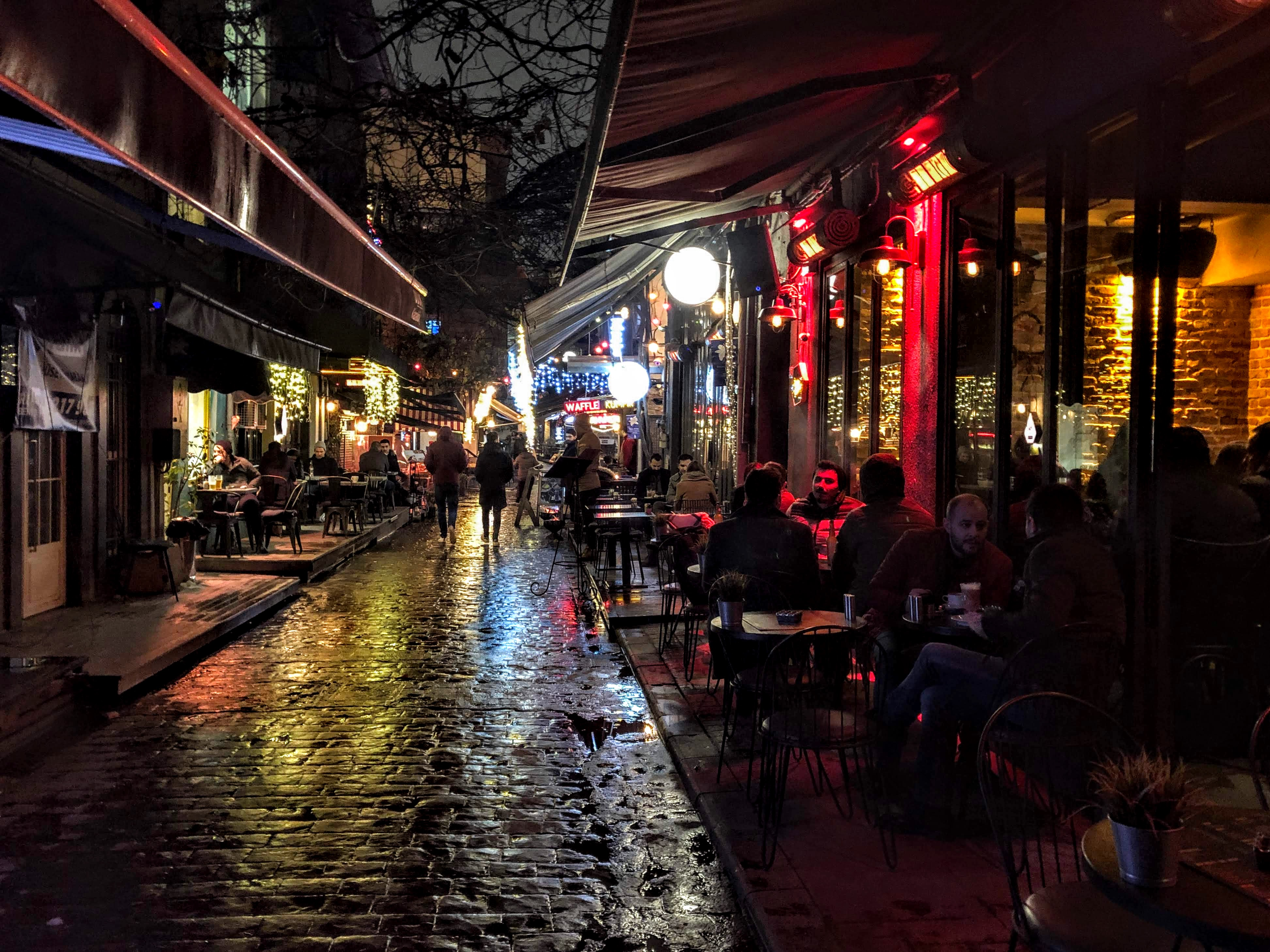 Karakoy neighborhood at night