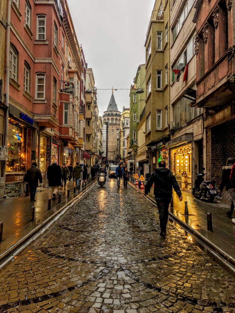 Galata Tower in the rain in Istanbul