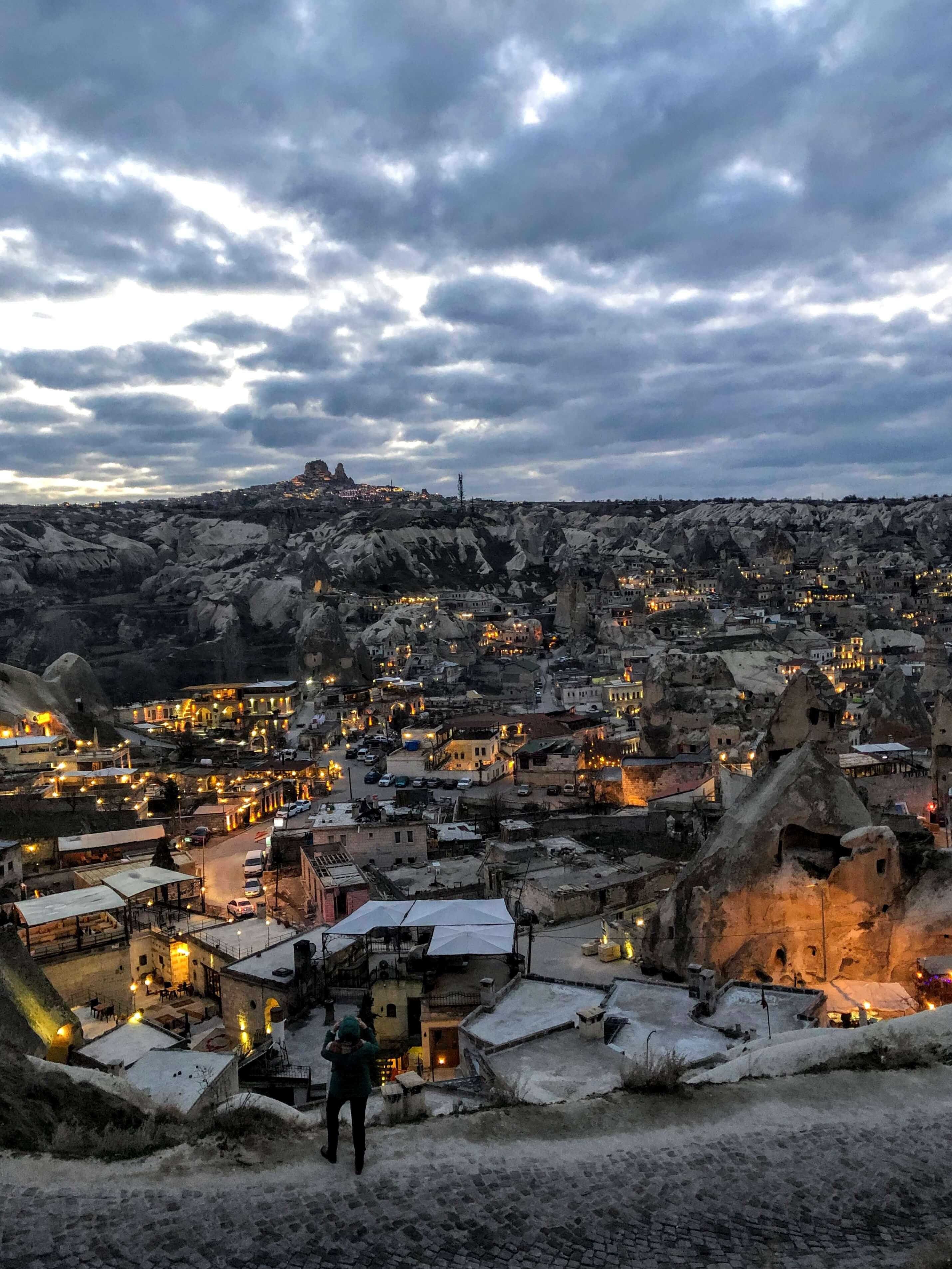 dusk in Goreme National Park in Cappadocia, Turkey