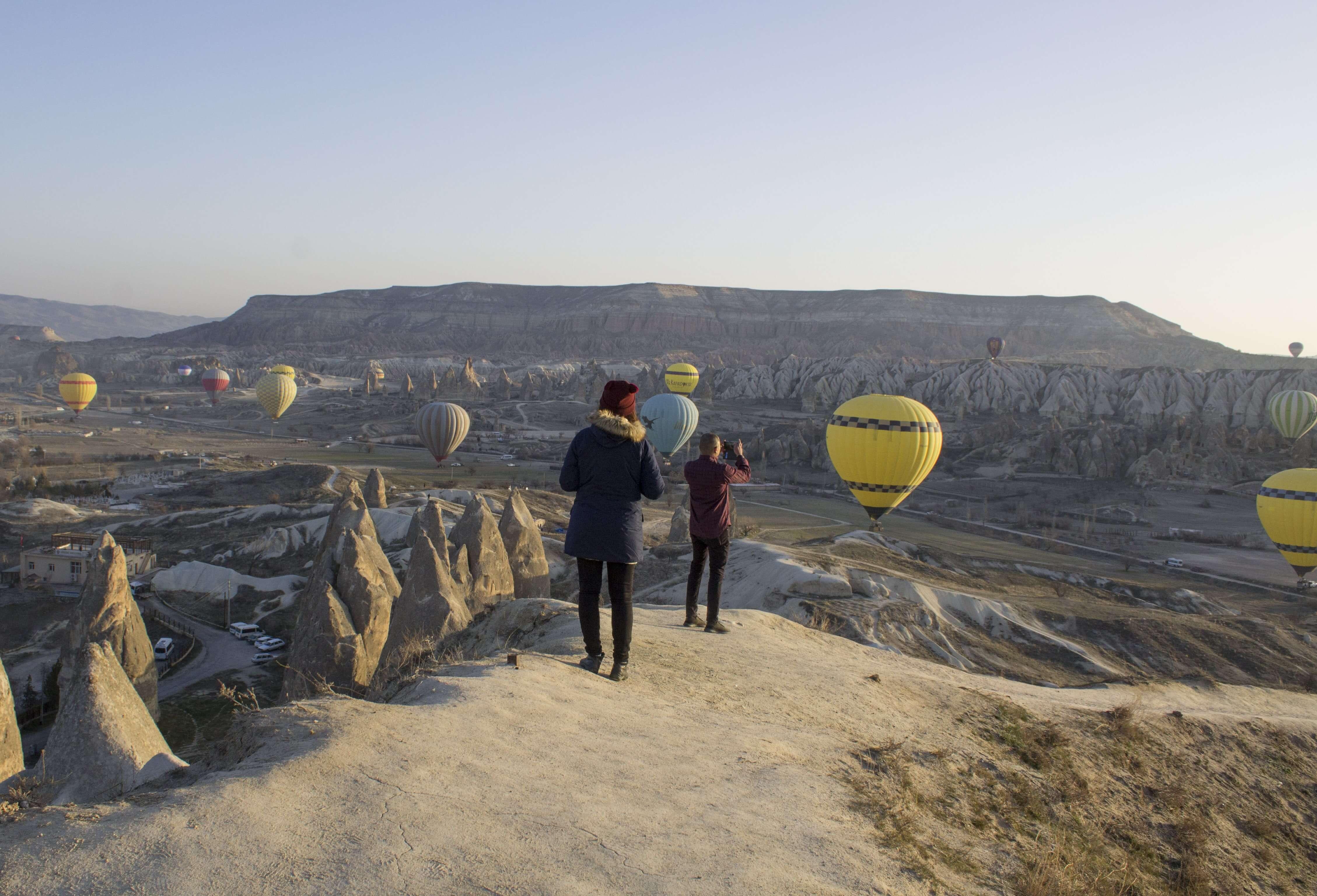 Cappadocia hot air balloons at sunrise point in Goreme