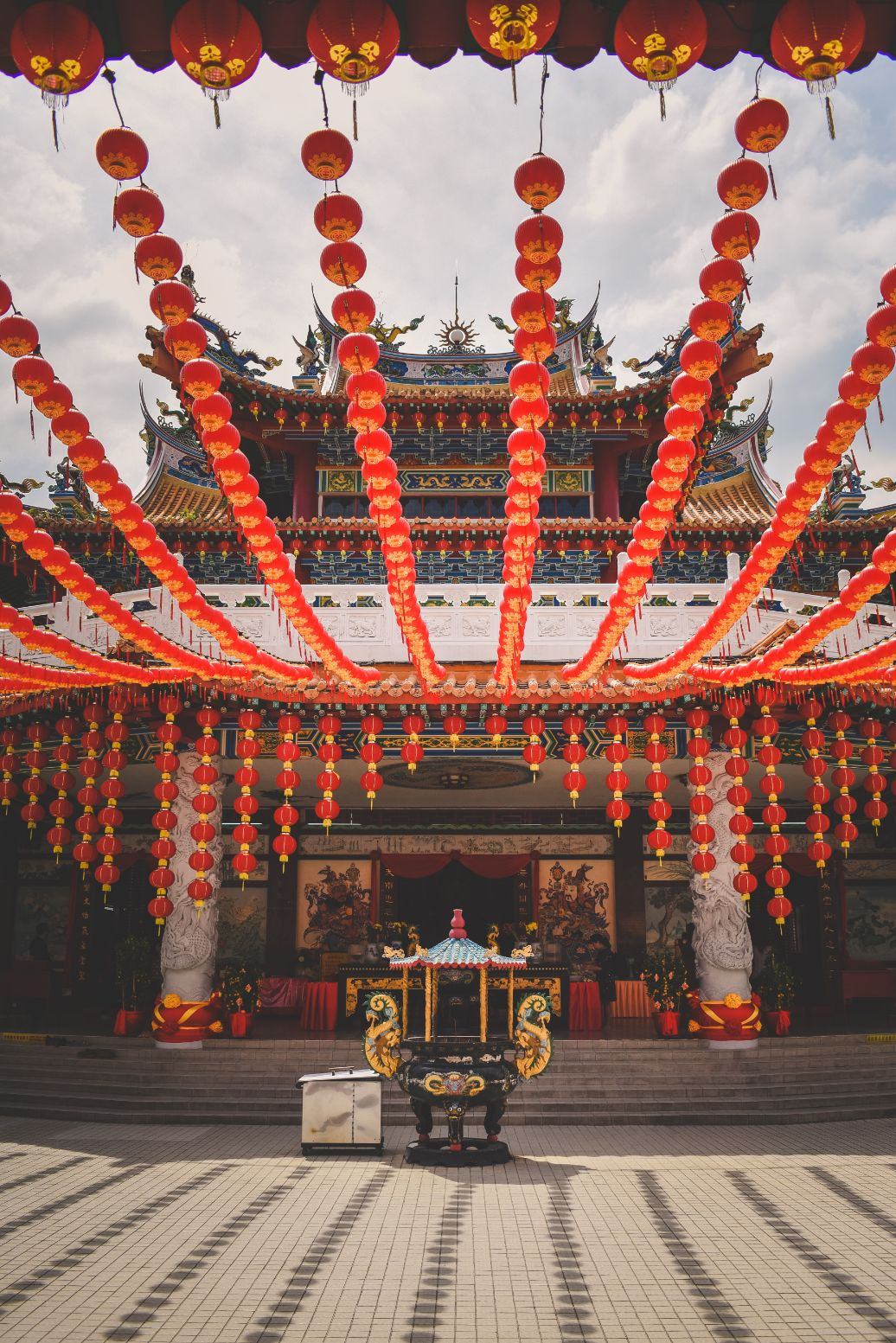 temple with red lanterns in Malaysia