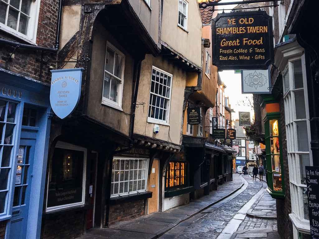 the shambles cobblestone street