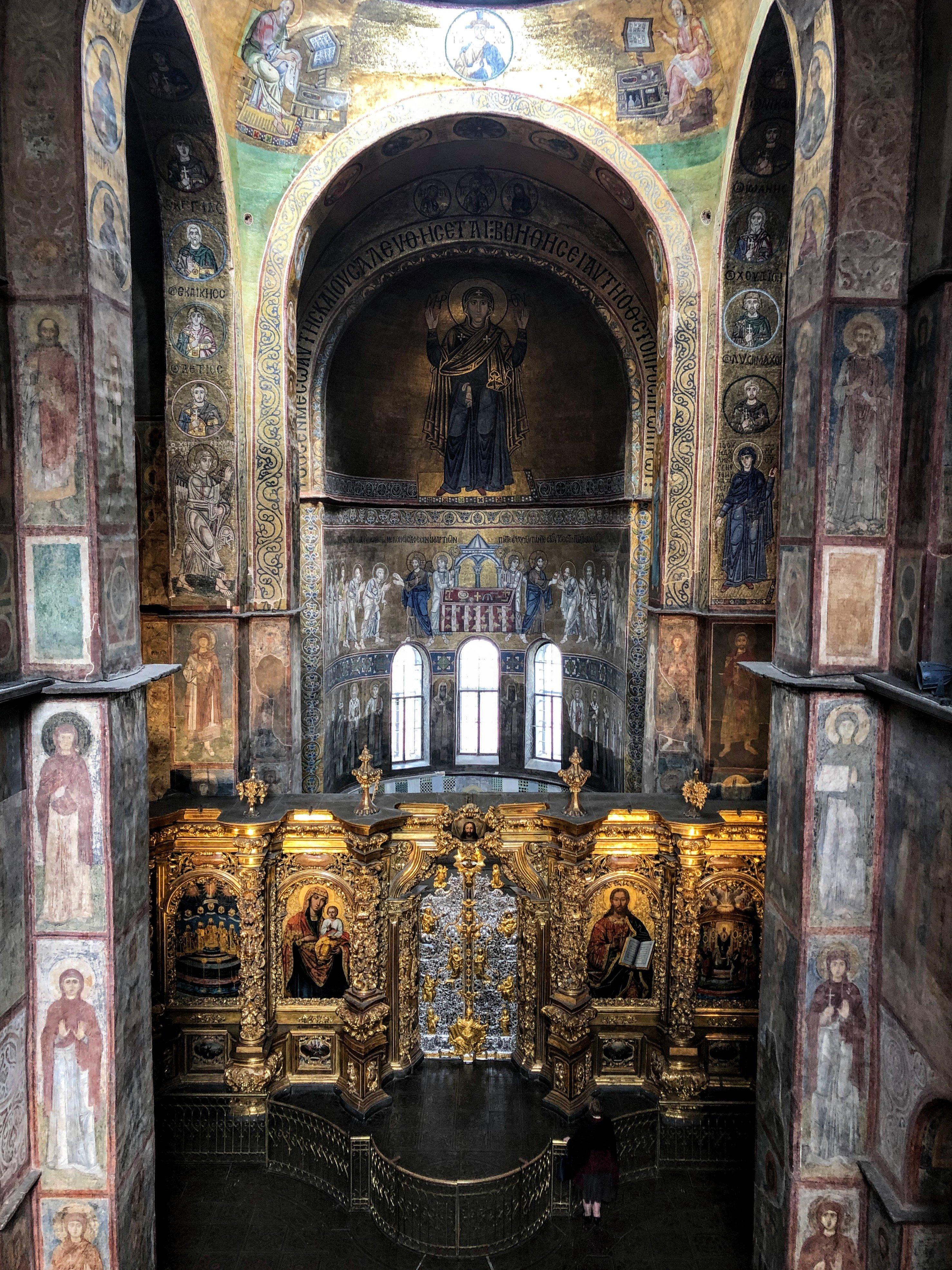 Inside St. Sophia's Cathedral in Kiev
