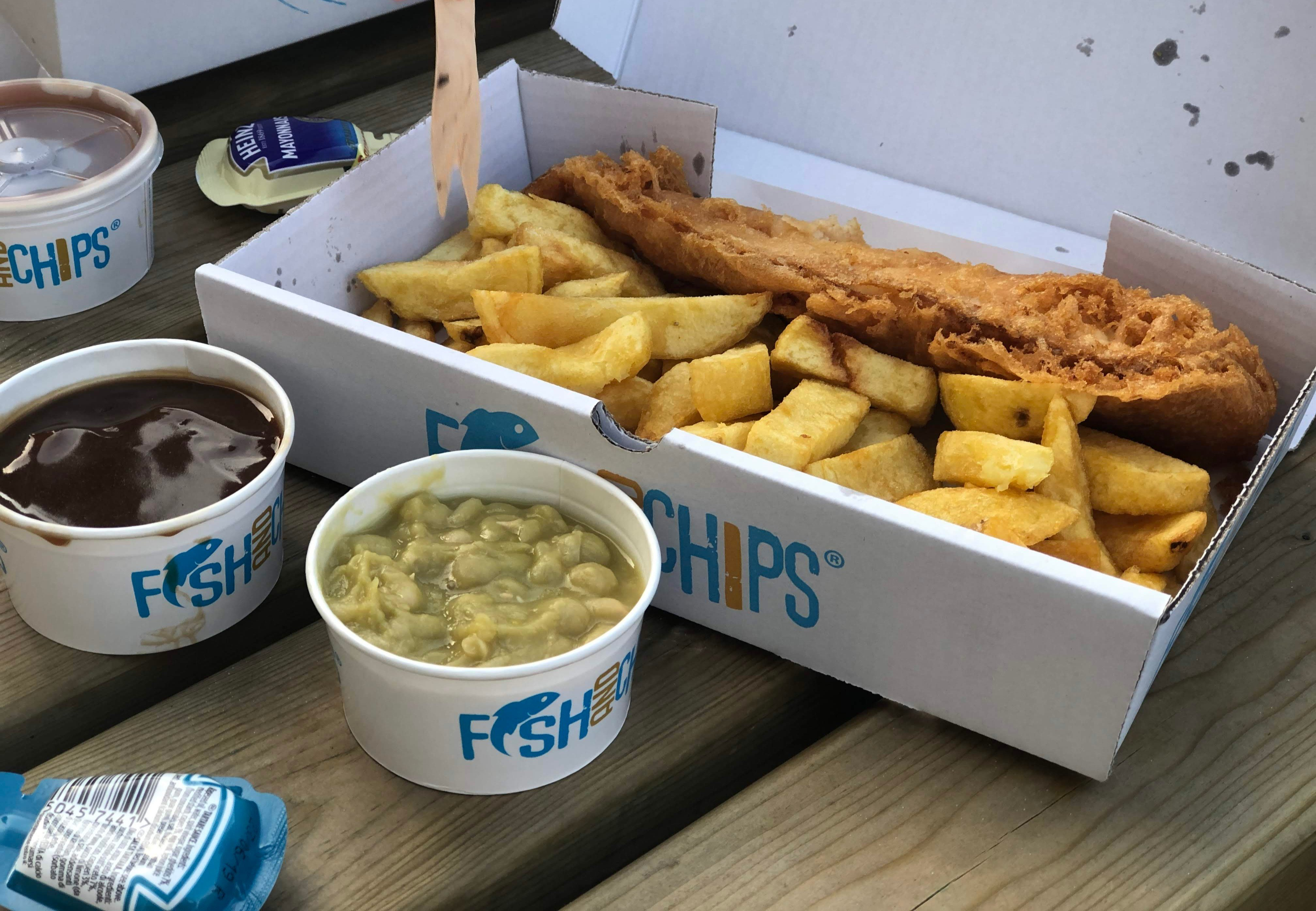 Fish and chips from the Arnside Chip Shop