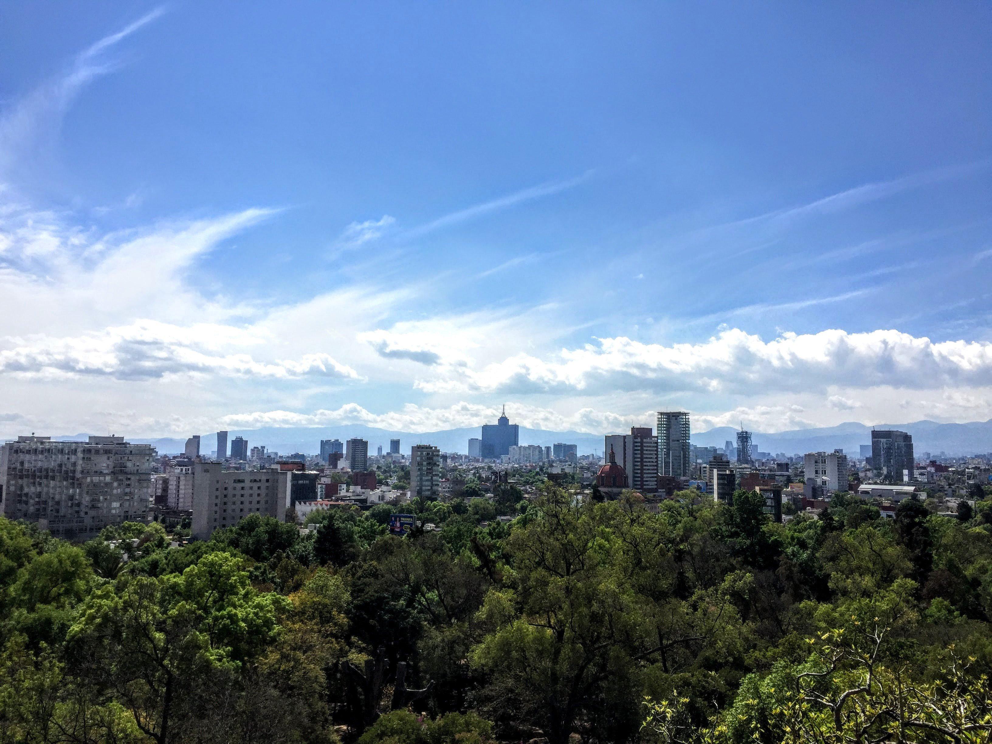 Chapultepec Park and Mexico City skyline