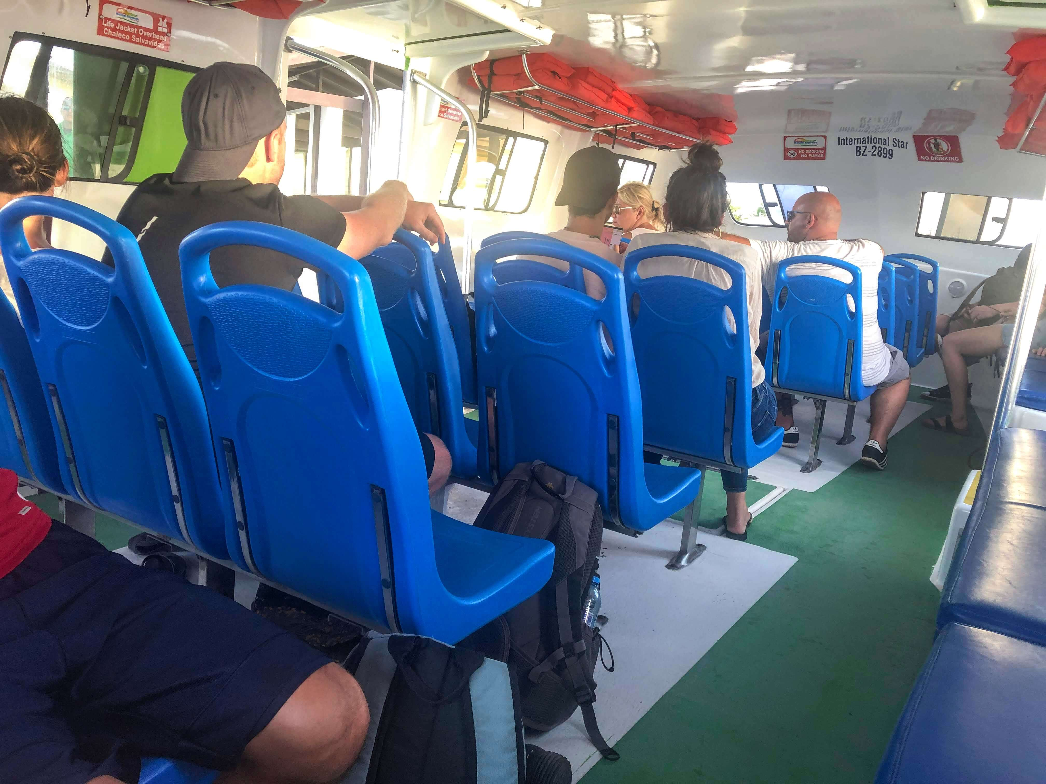 inside the ferry from Chetumal to Caye Caulker