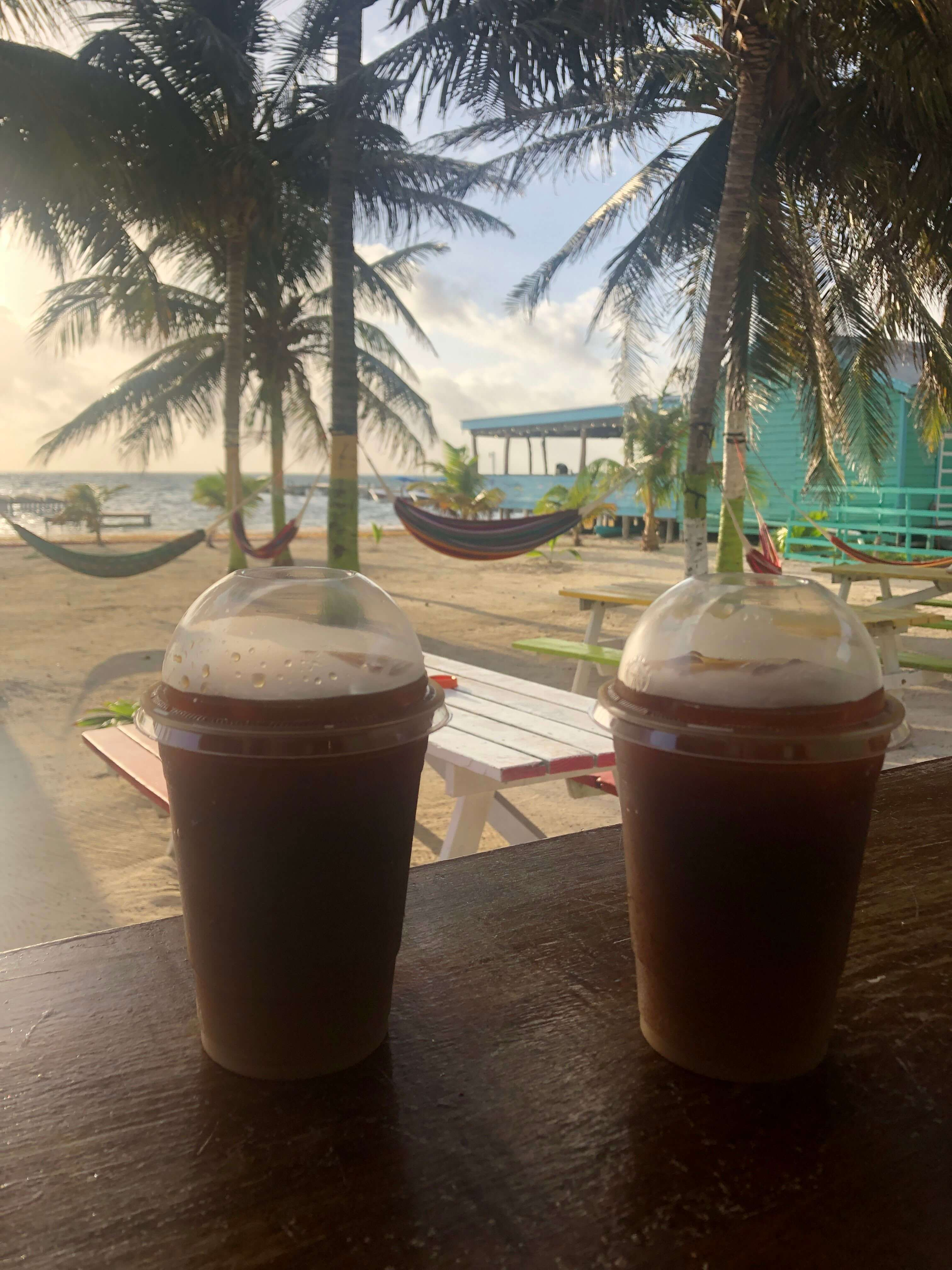 coffee at Ice and Beans on Caye Caulker