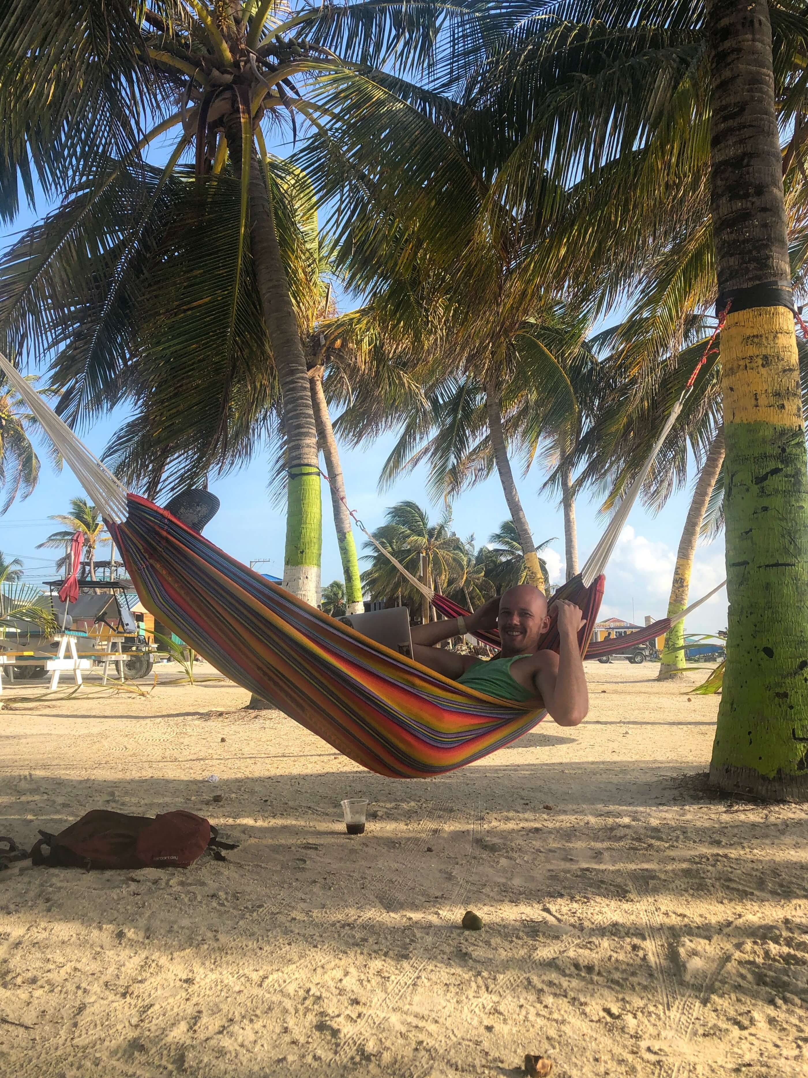 digital nomad on Caye Caulker