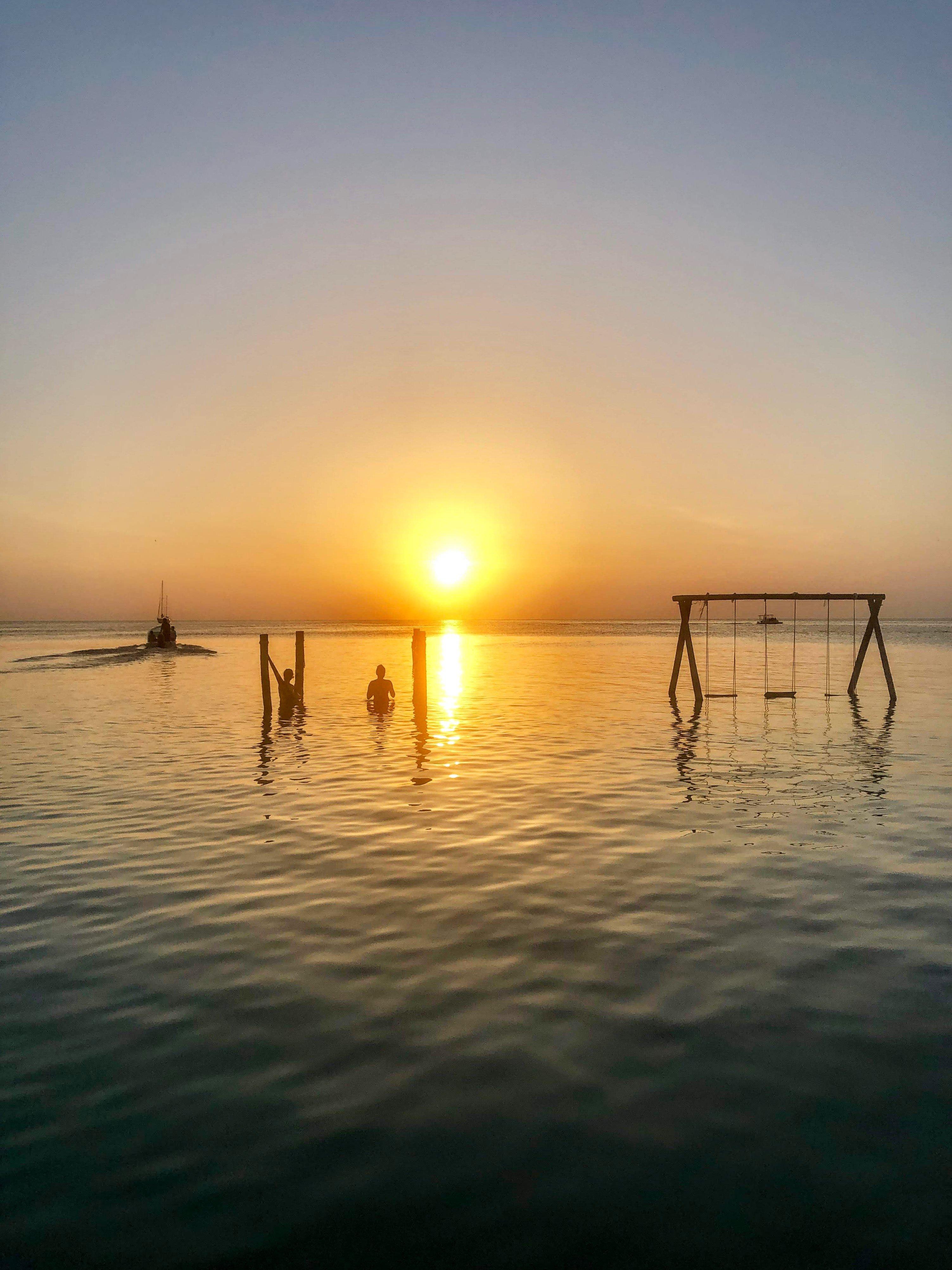 sunset on Caye Caulker at Iguana Reef Inn