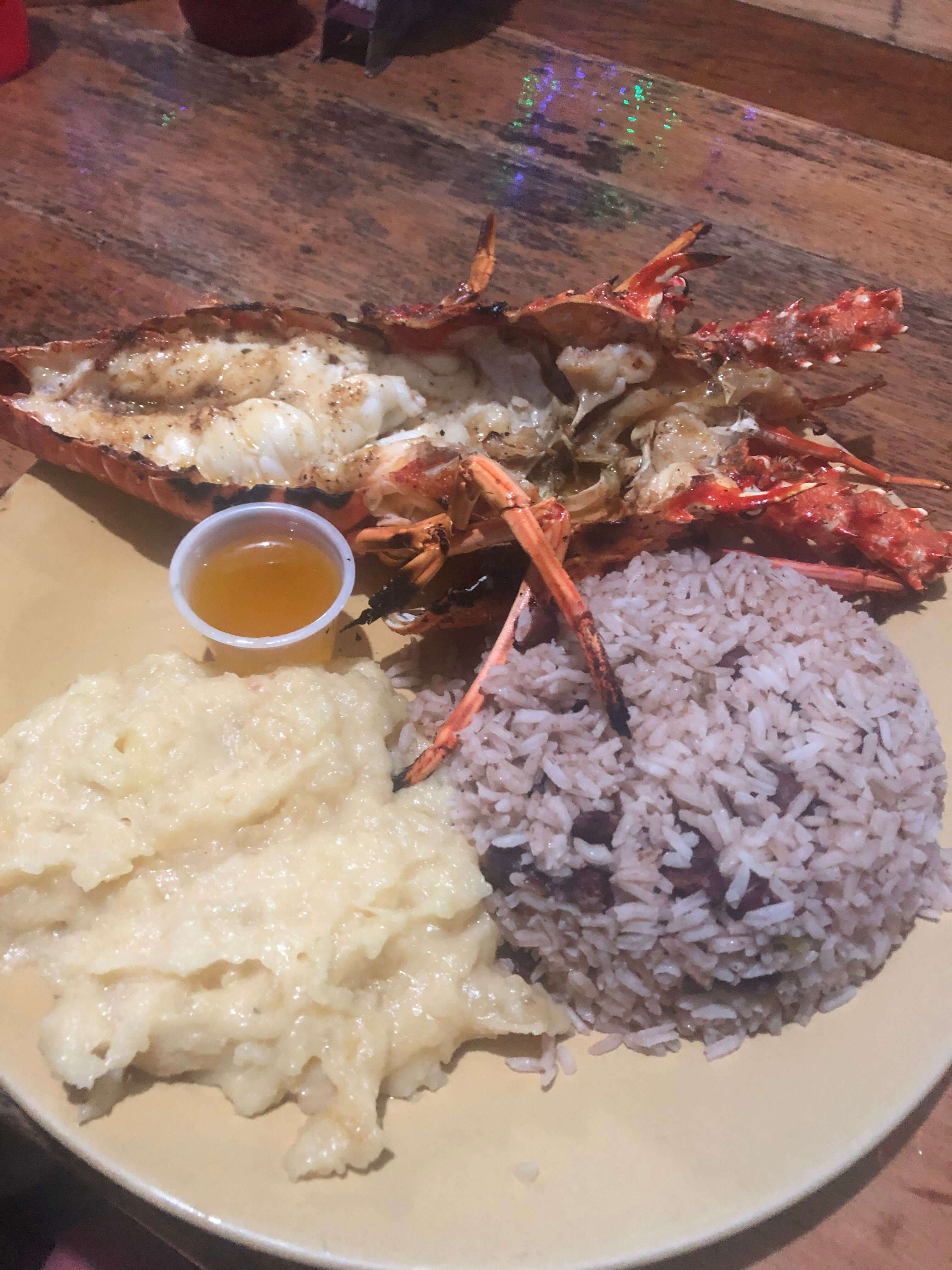 lobster rice and beans on Caye Caulker