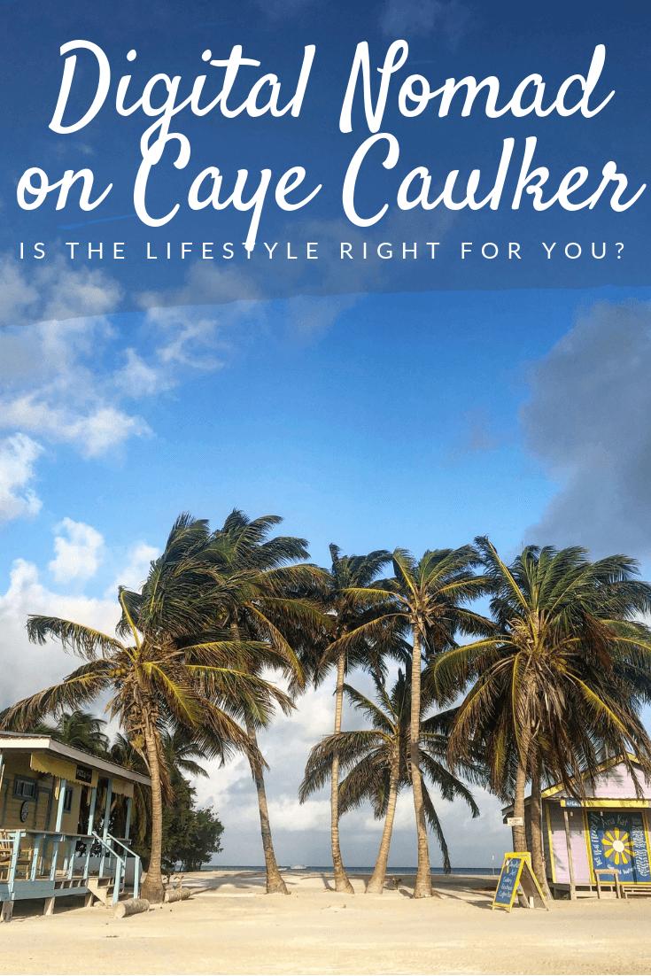digital nomad on Caye Caulker Pinterest pin