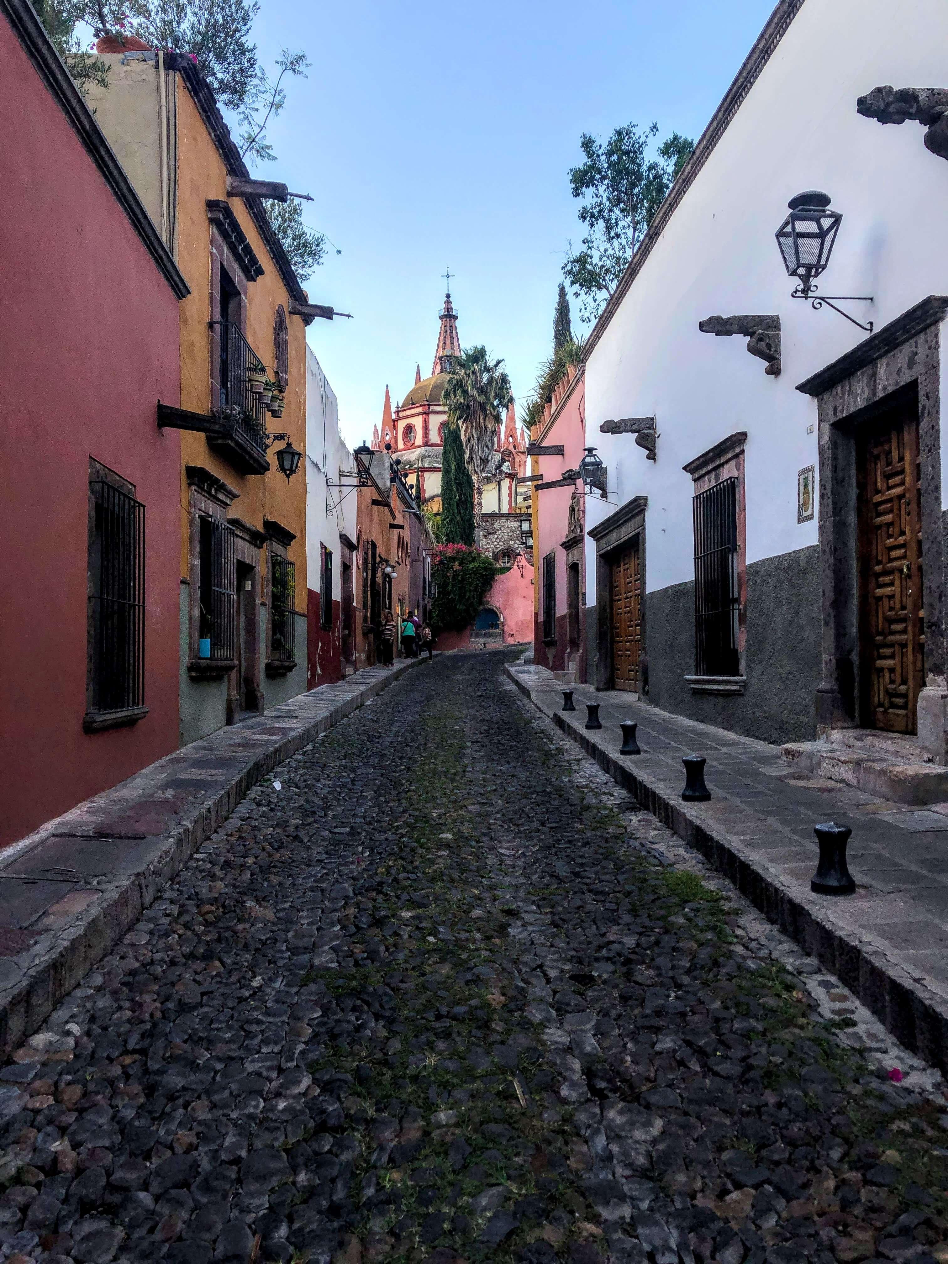 street and church in San Miguel de Allende