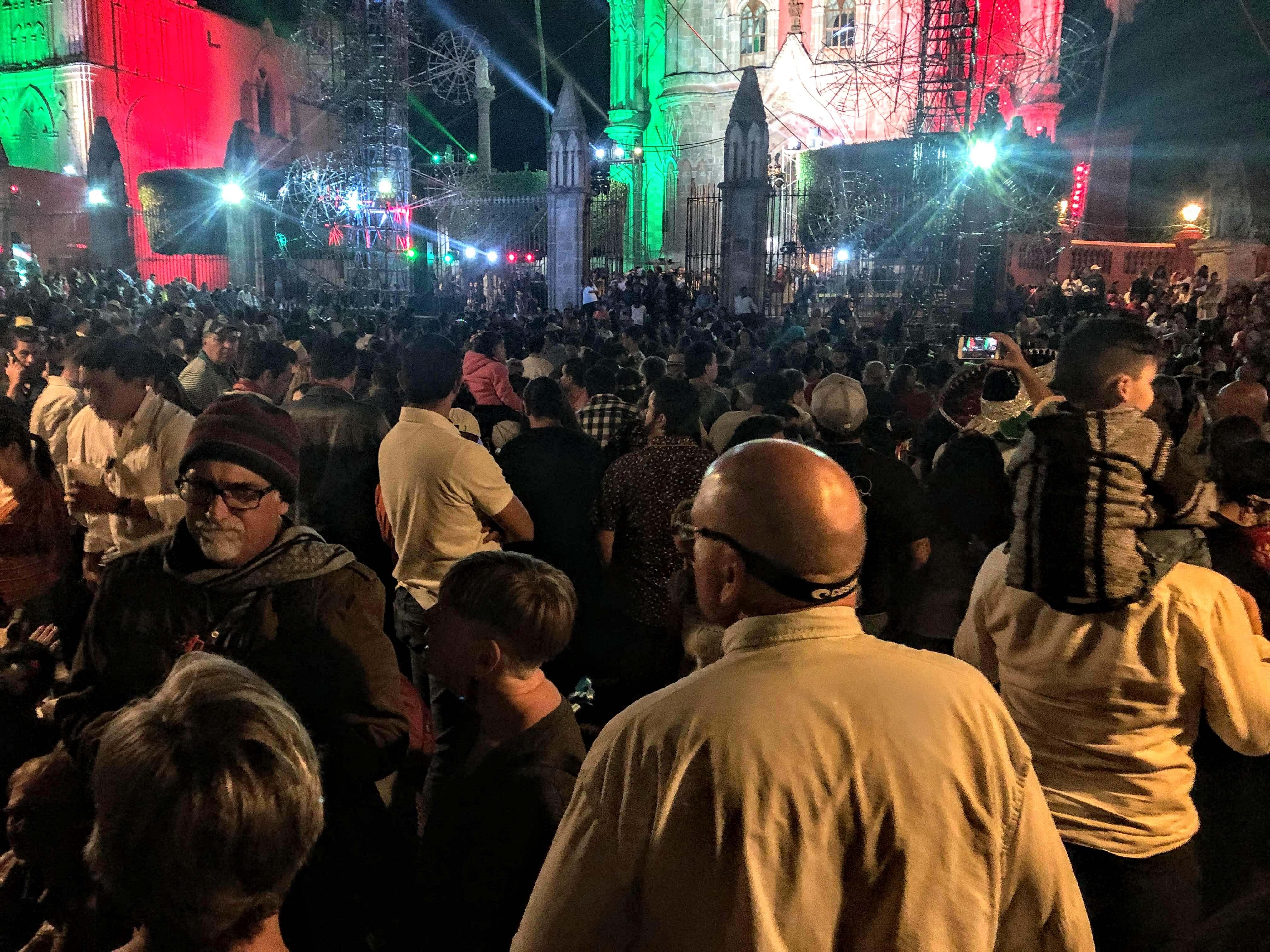crowds during Grito de Dolores in San Miguel de Allende