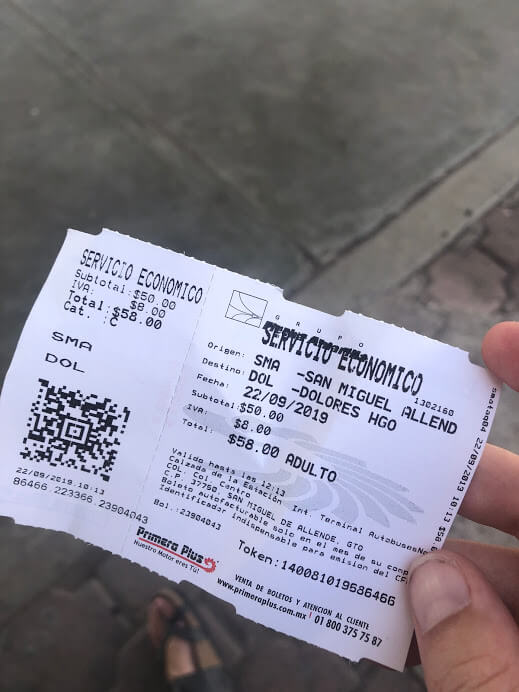 ticket for the bus to Dolores Hidalgo