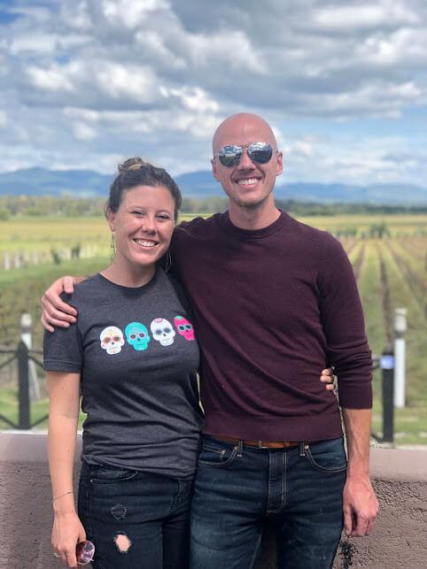 Dan and Di at the Rancho Toyan winery near San Miguel