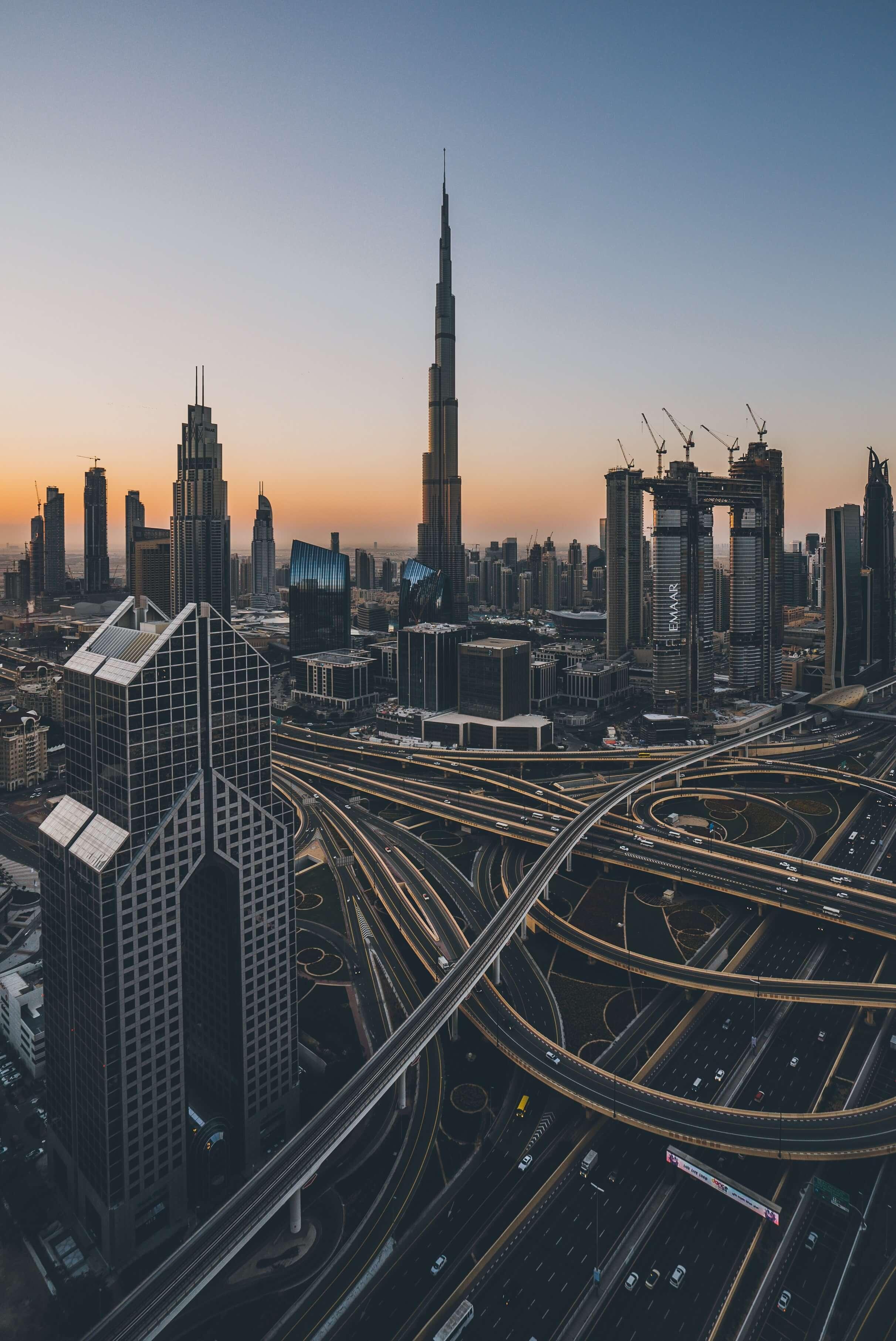 UAE skyline and roads