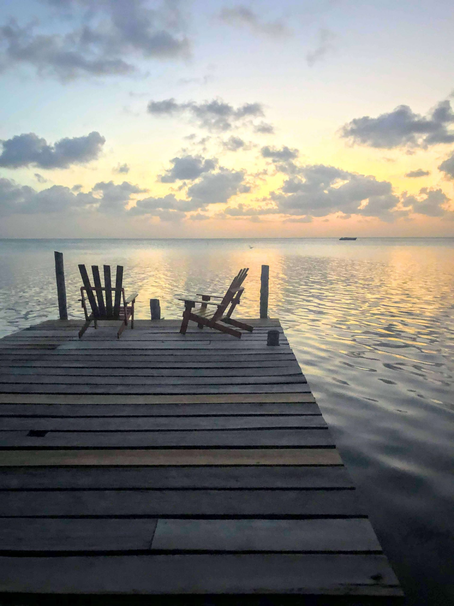 sunset on our private dock on Caye Caulker