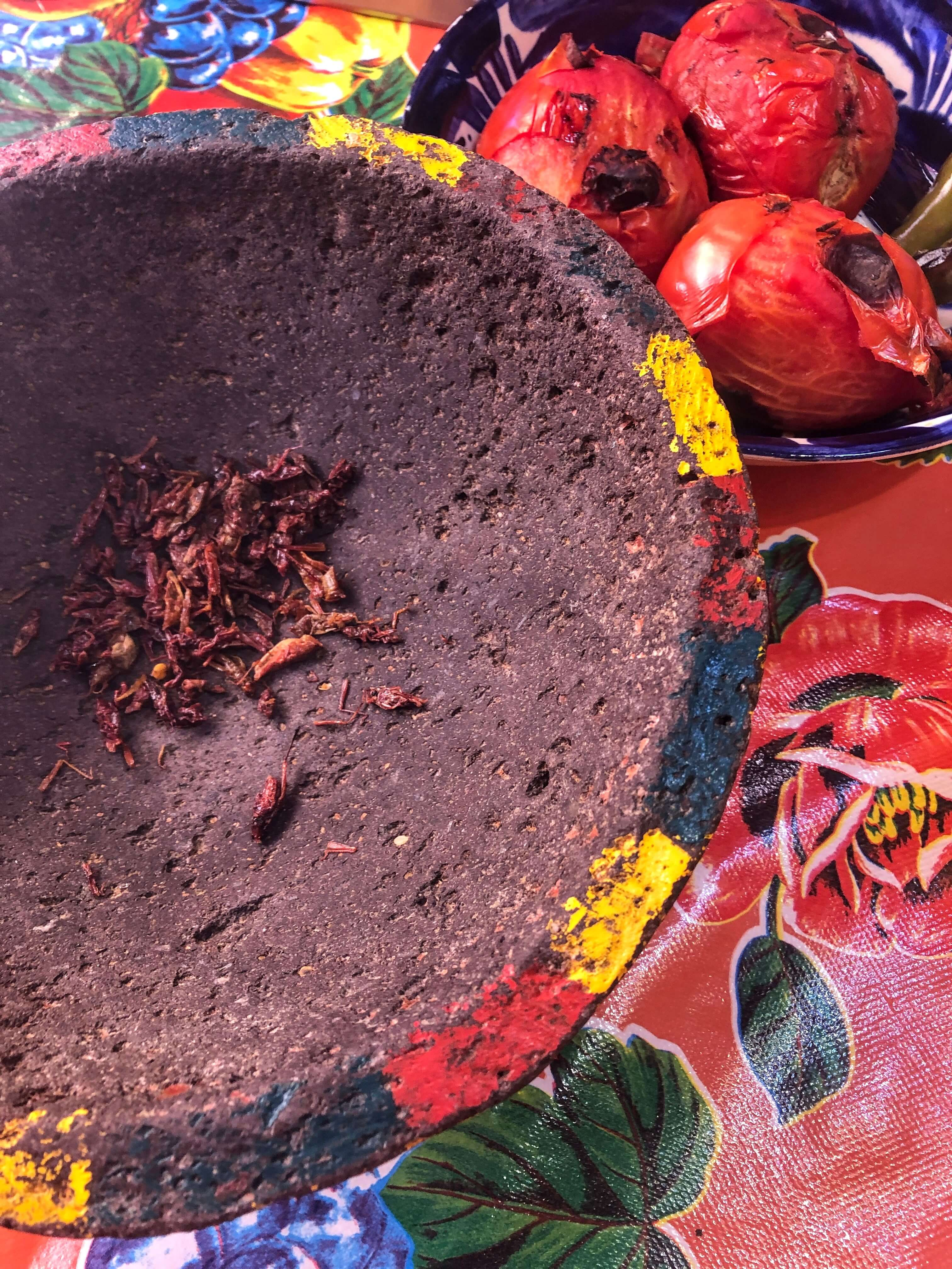 chapulines grasshoppers in Oaxcaca