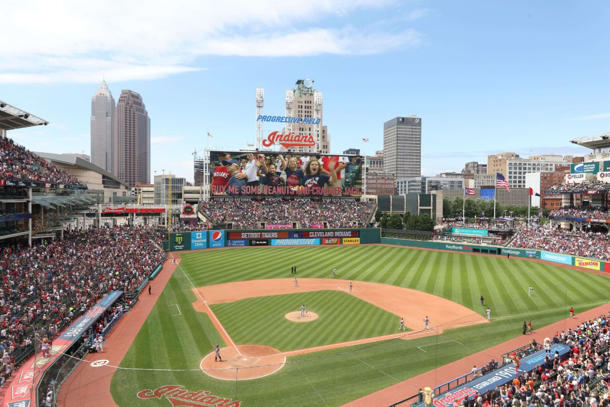 Progressive Field with a view of the Cleveland skyline