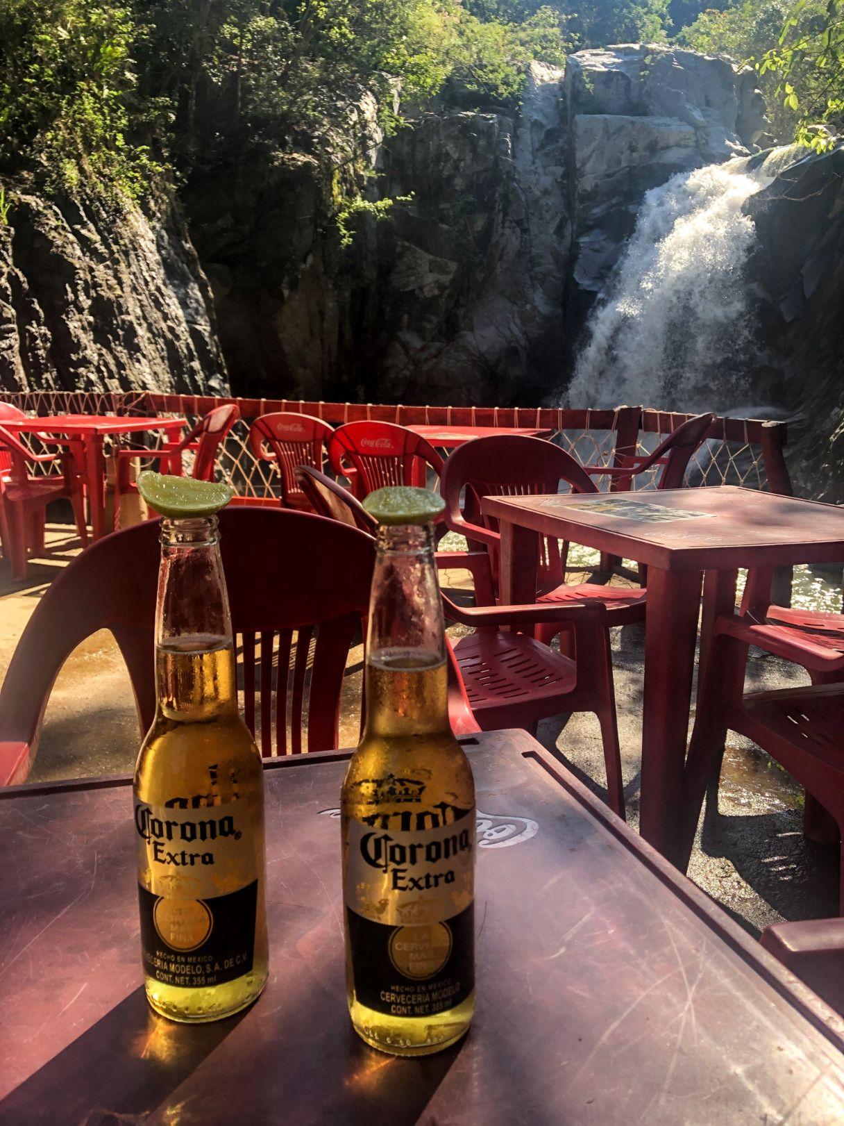 Coronas at the Quimixto waterfall restaurant