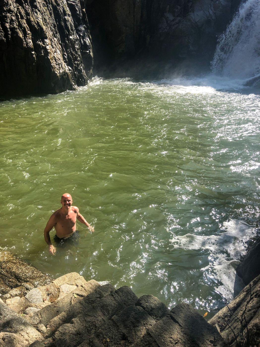 swimming at the Quimixto waterfall