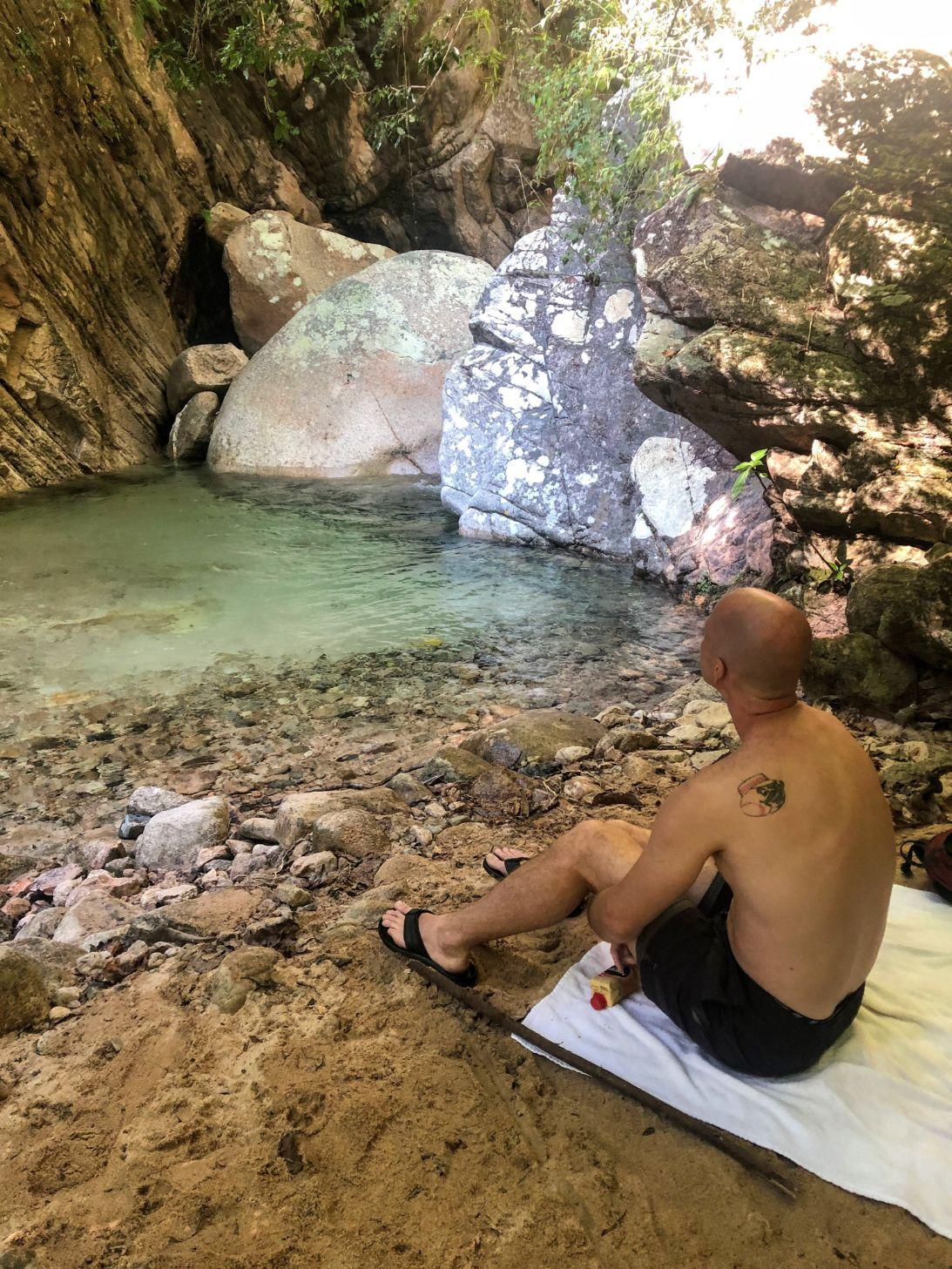 beach and swimming hole at Nogalito waterfall