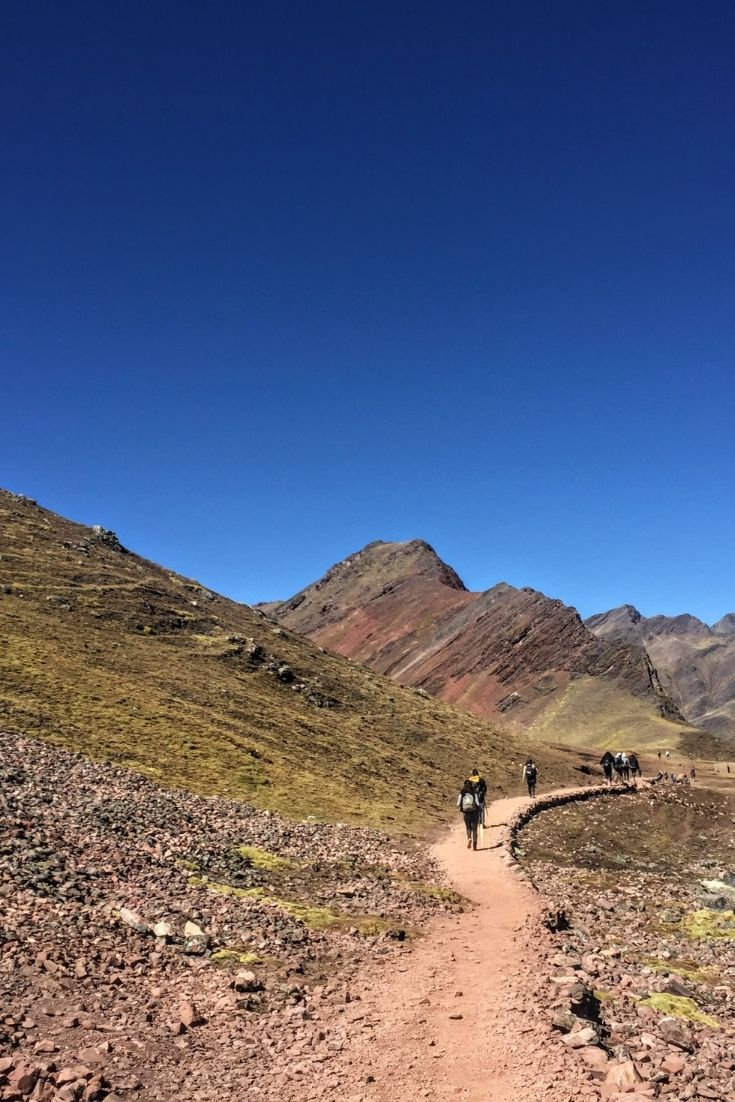 hiking to Rainbow Mountain in Peru