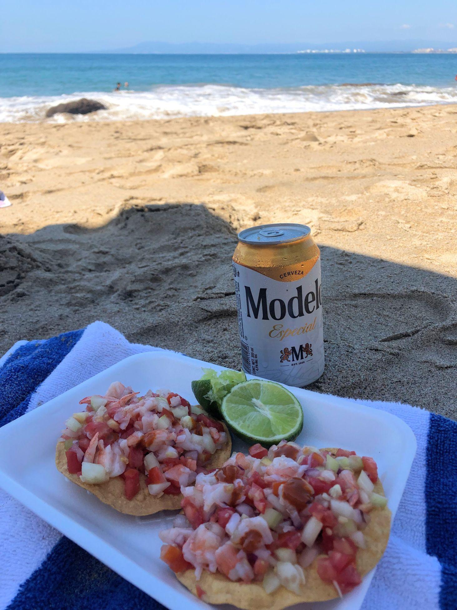 shrimp tostadas on at the end of Muertos Beach