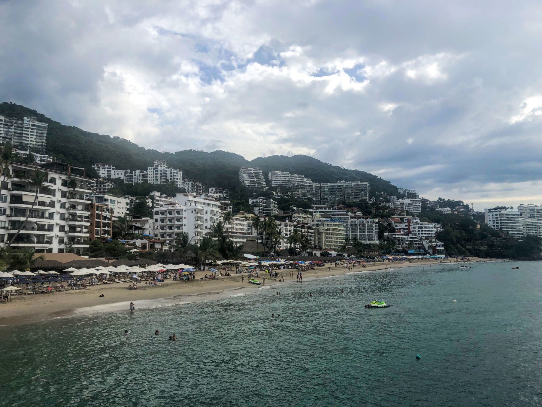 View of the Zona Romantica in Puerto Vallarta from Los Muertos Beach