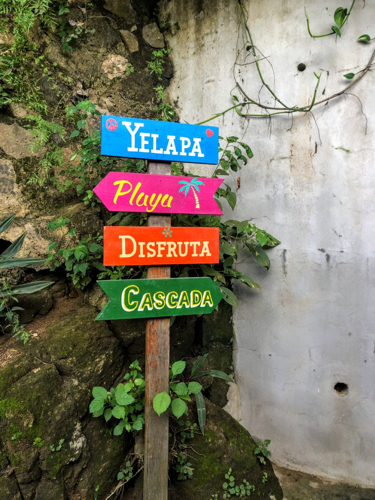 sign pointing to the waterfall in Yelapa, Mexico