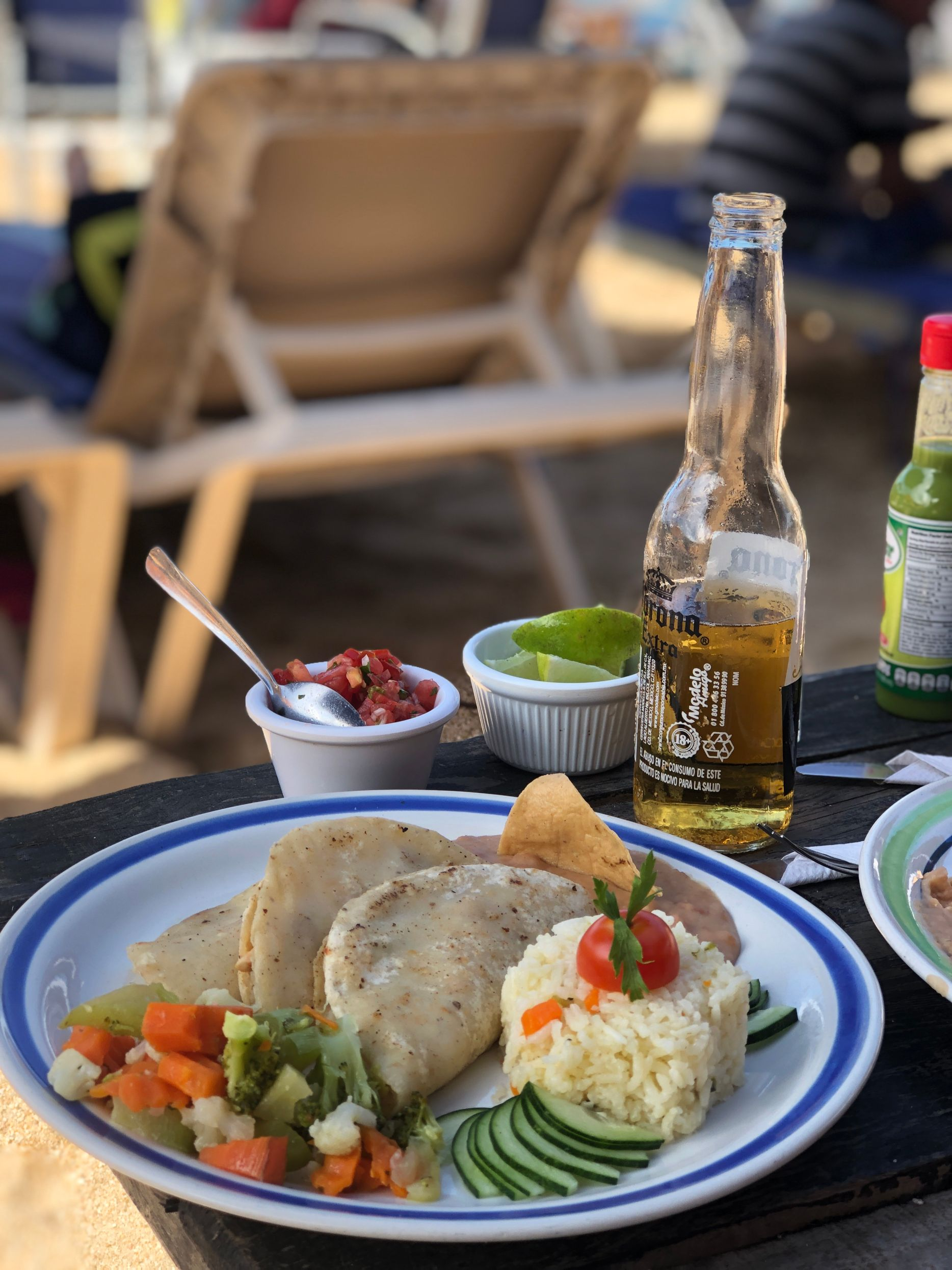 fish tacos and sides on the beach