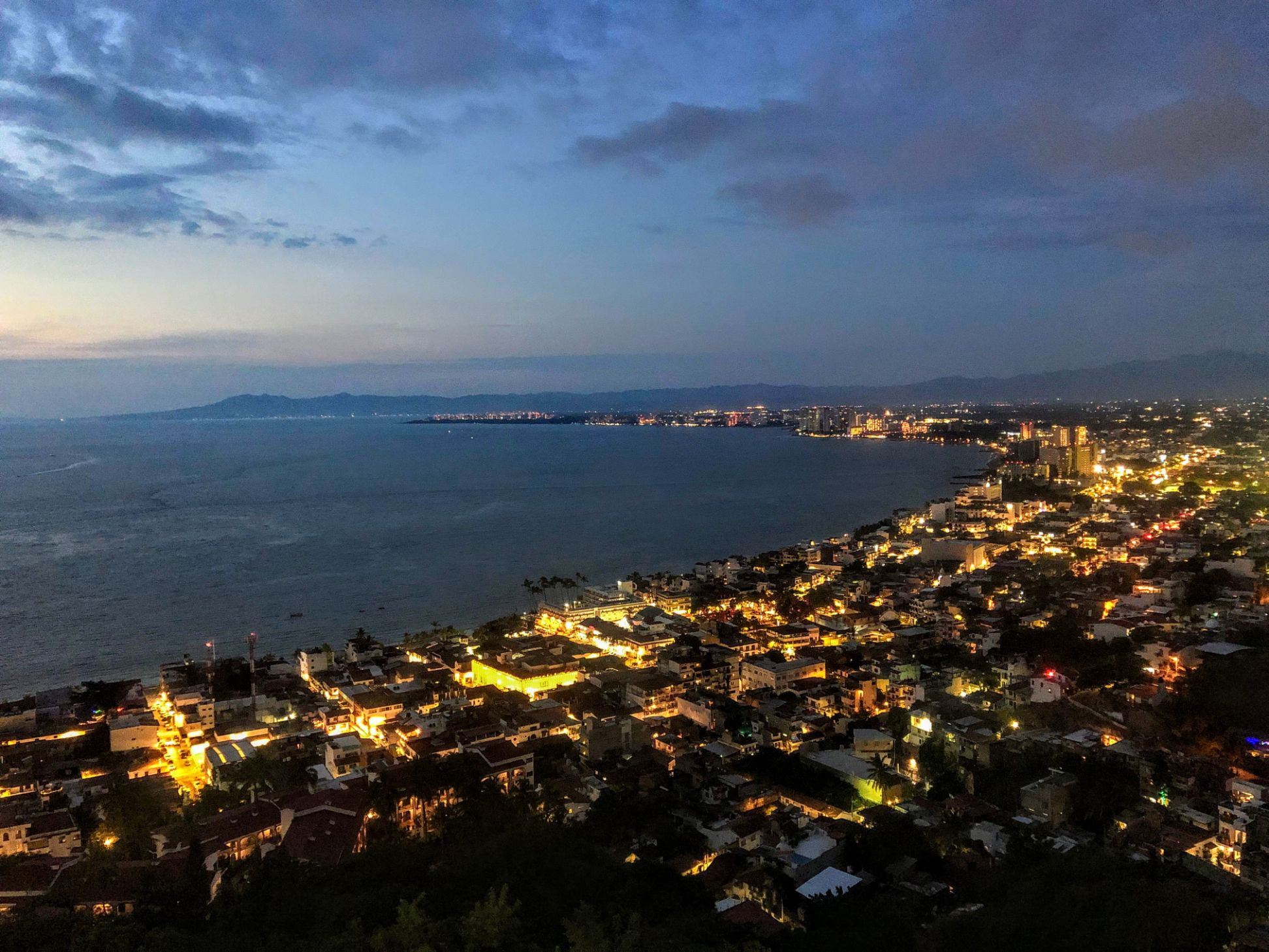 Aerial view of Puerto Vallarta at night