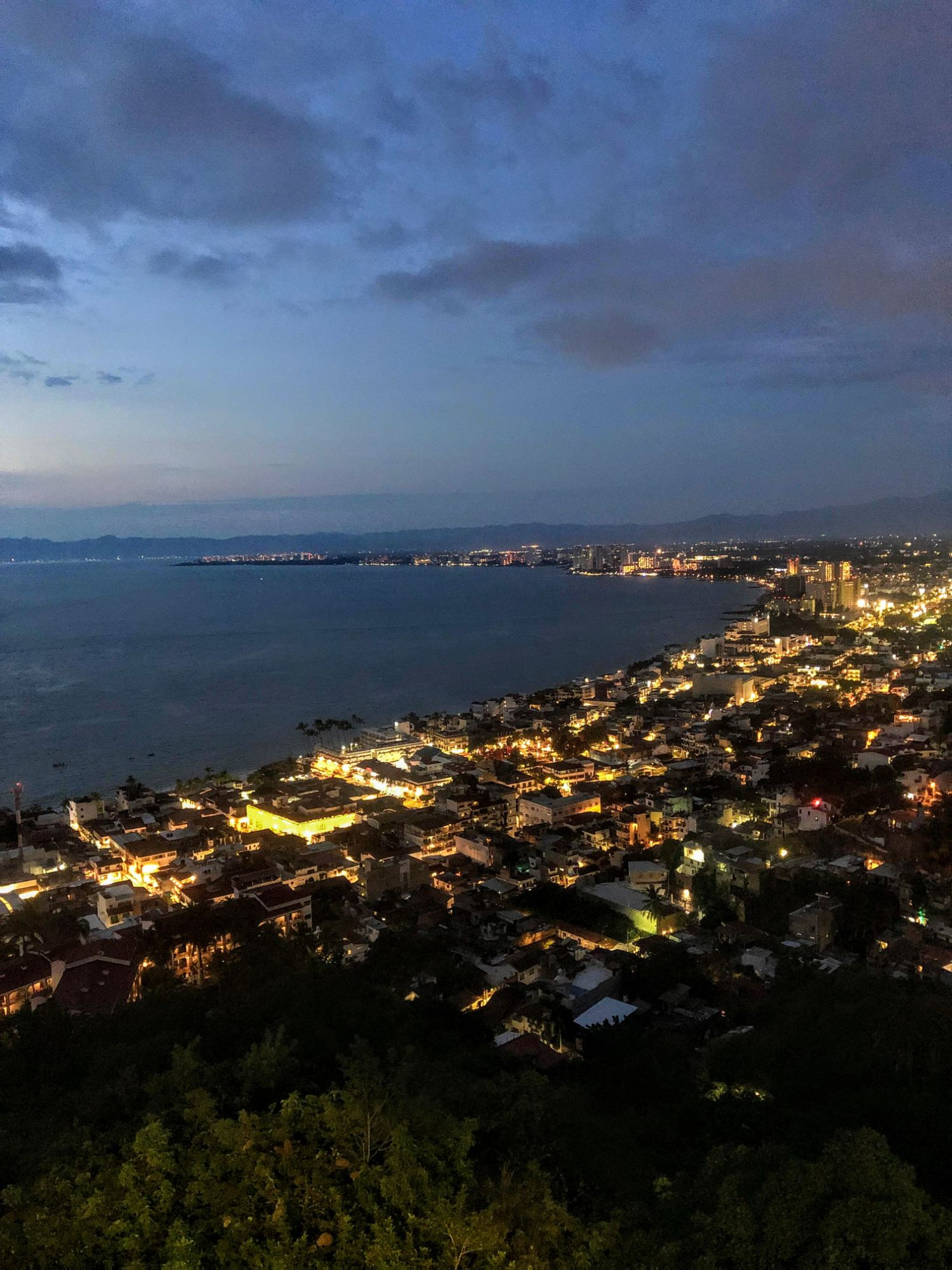 Aerial view of Puerto Vallarta at dusk from the scenic view point