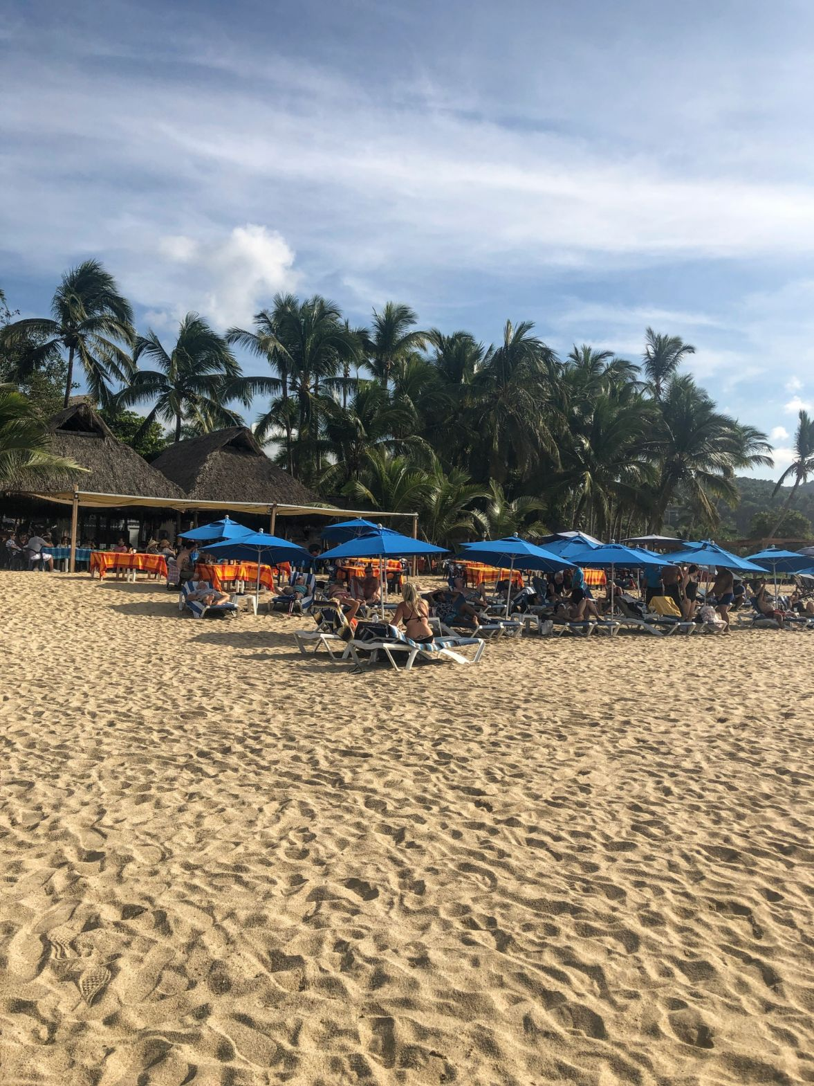 beach chairs and palm trees on San Pancho beach