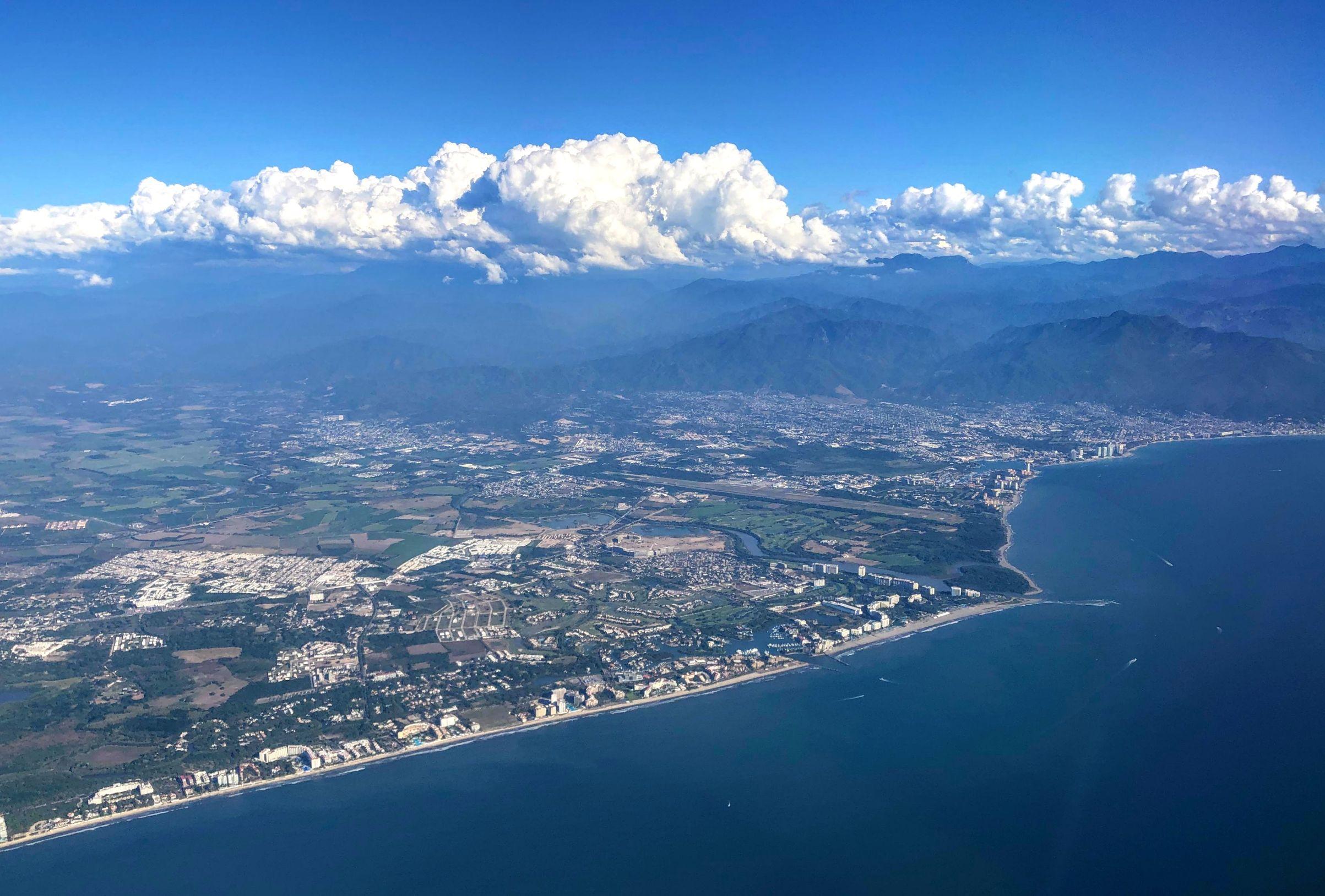 aerial view of Puerto Vallarta coast line