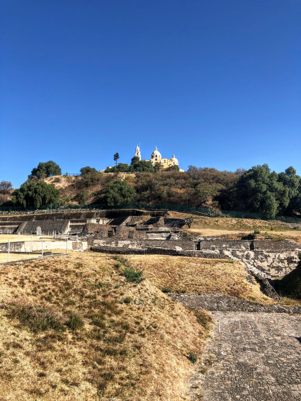 Cholula ruins at the base of the Cholula Pyramid