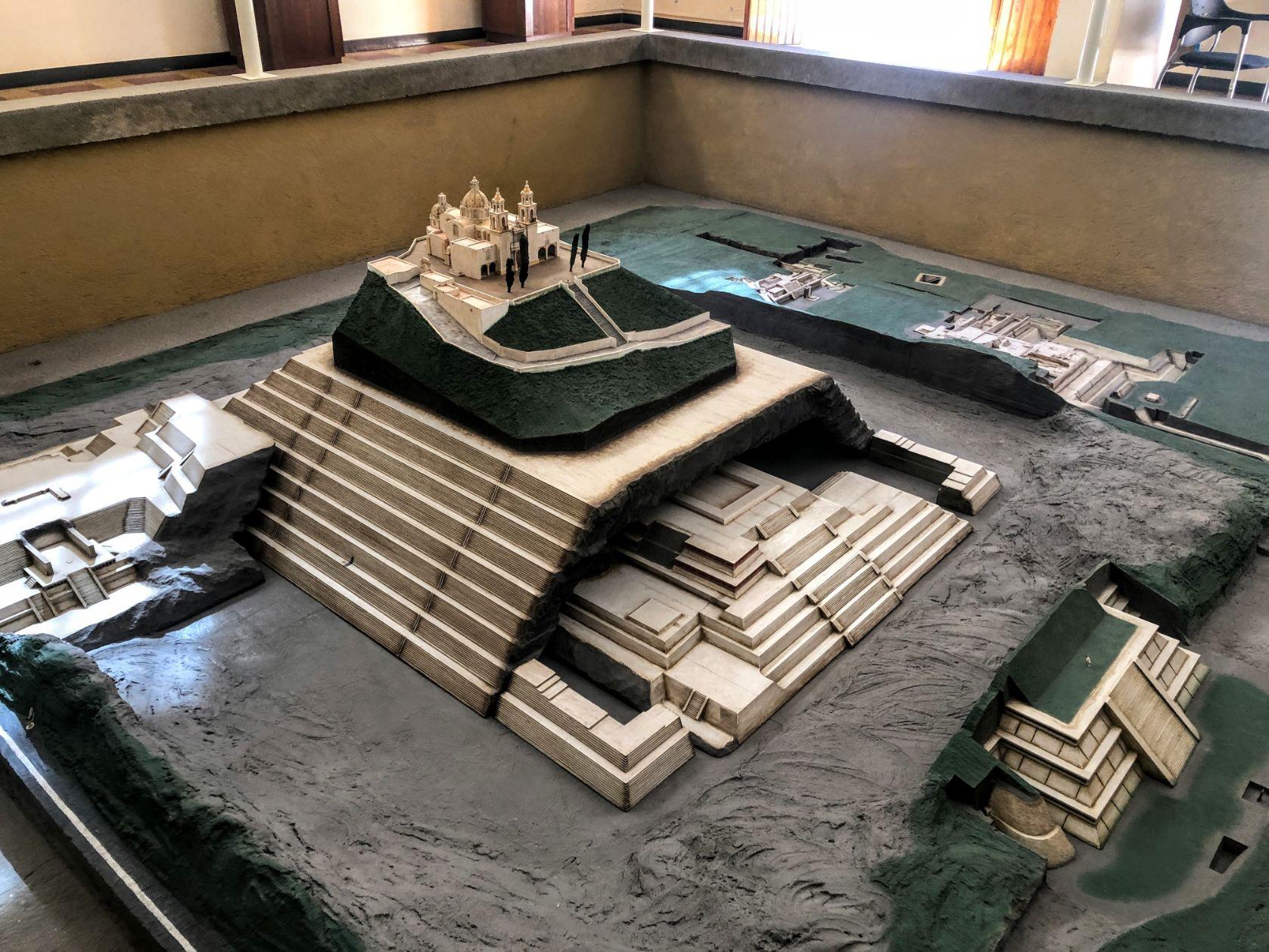 Replica of the Cholula ruins in the Cholula Pyramid museum