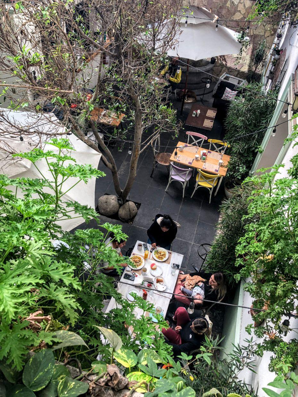 courtyard of the Divara restaurant and bar in Cholula, Mexico