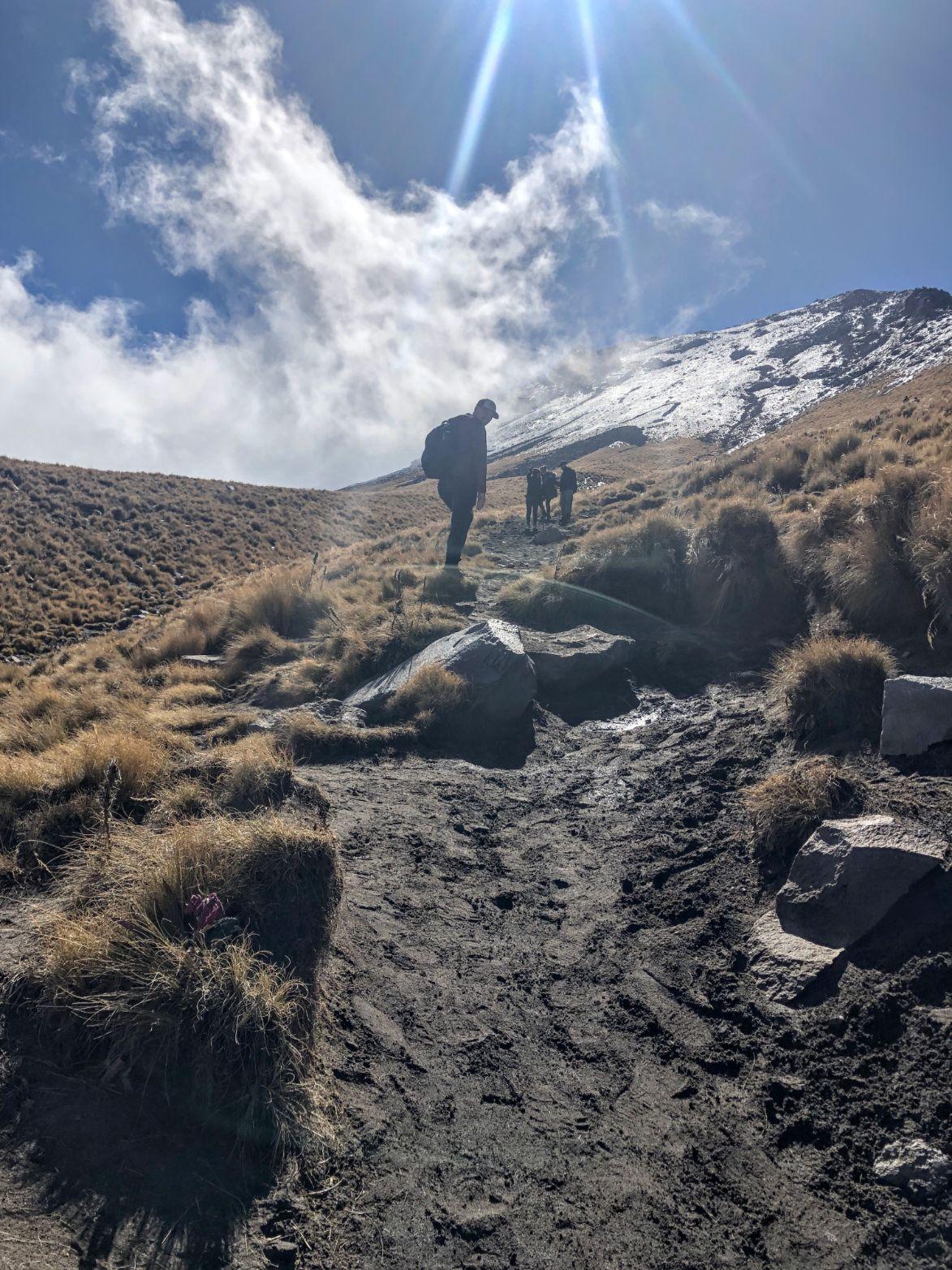 beginning the super steep uphill climb up Malinche