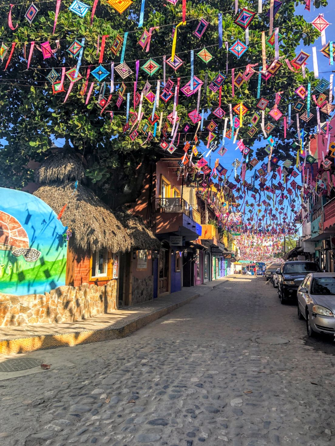 colorful street decorations in Sayulita, Mexico