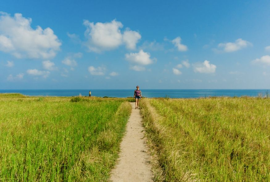 blue sky and green grass on the beach path in Taiwan