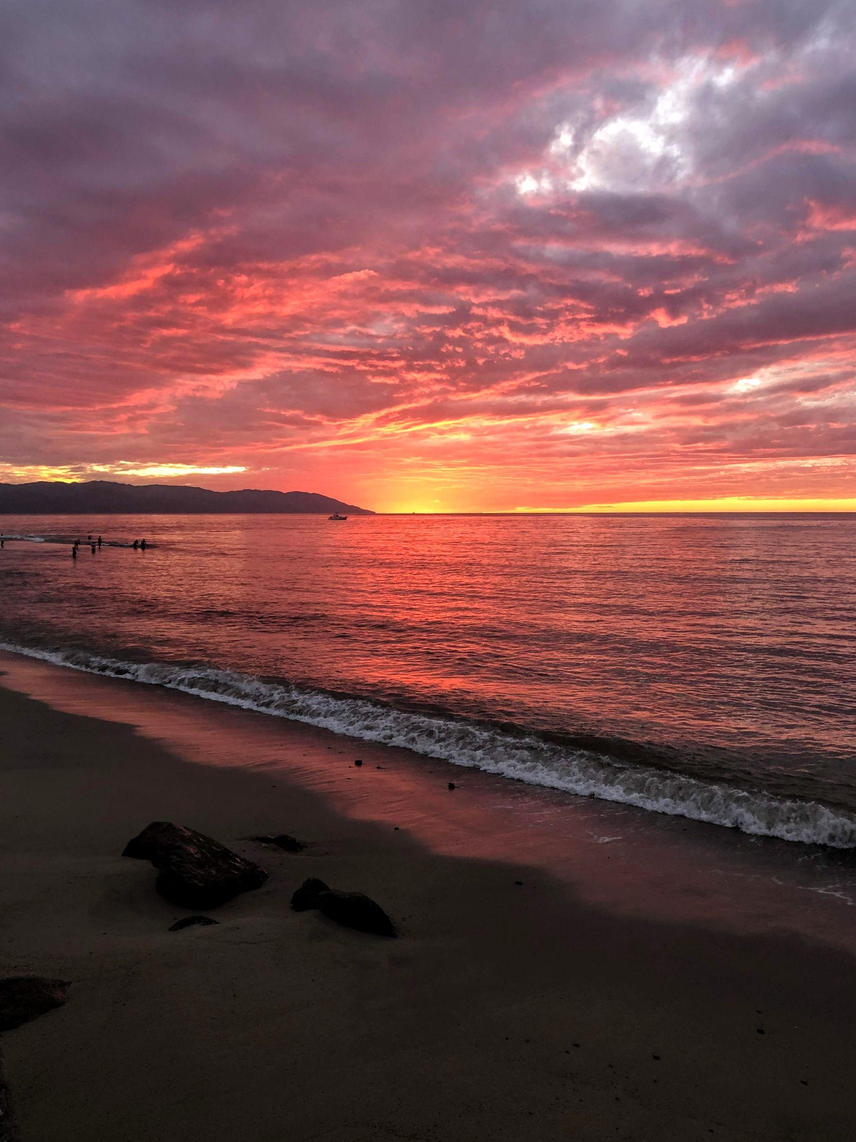 pink sunset on the beach in Puerto Vallarta