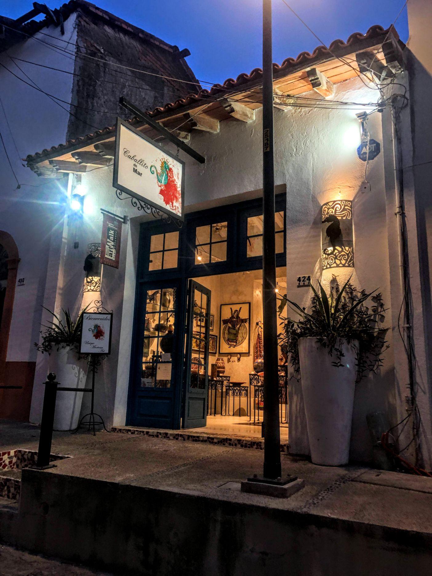 gallery in Puerto Vallarta, lit up for the Wednesday night art walk