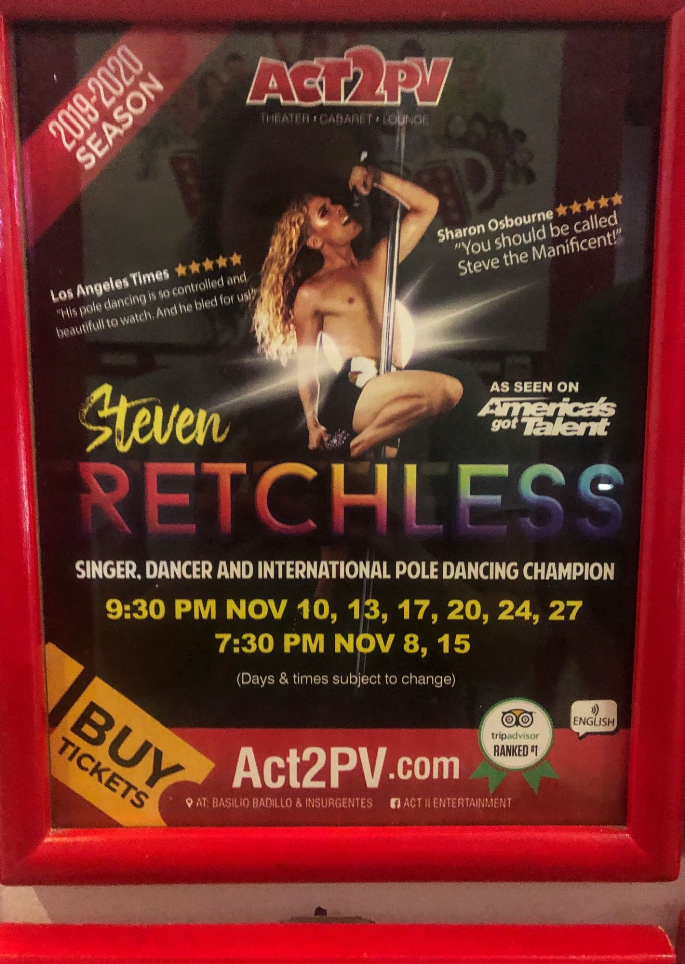 show poster for Steven Retchless at Act 2 PV