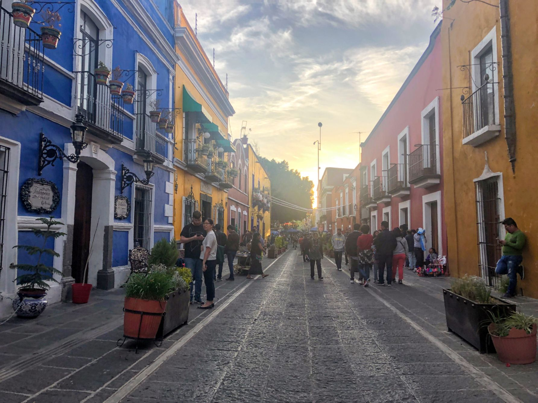 colorful street in the Puebla centro historico neighborhood at sunset