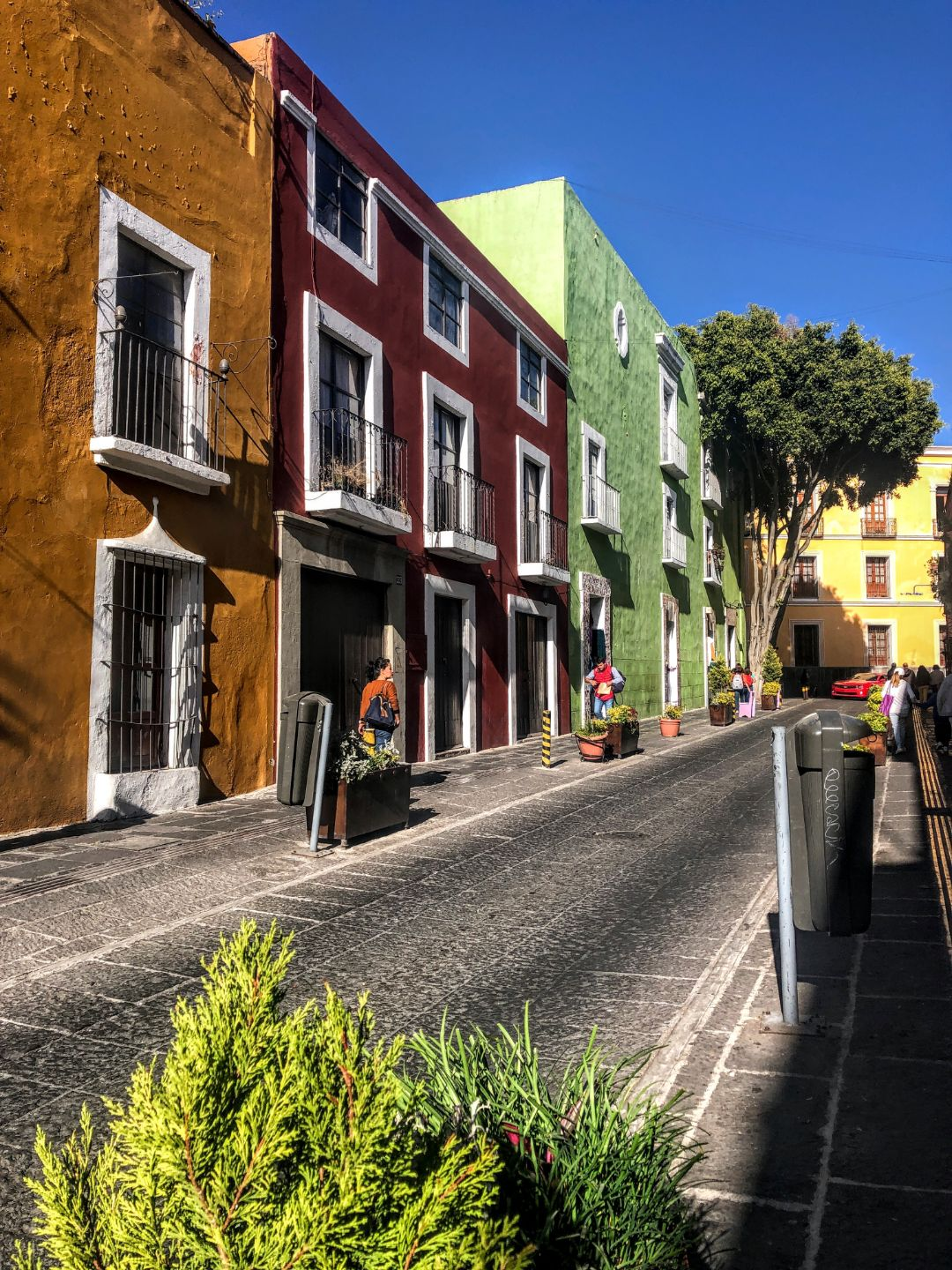 street with orange, red, and light green colonial buildings