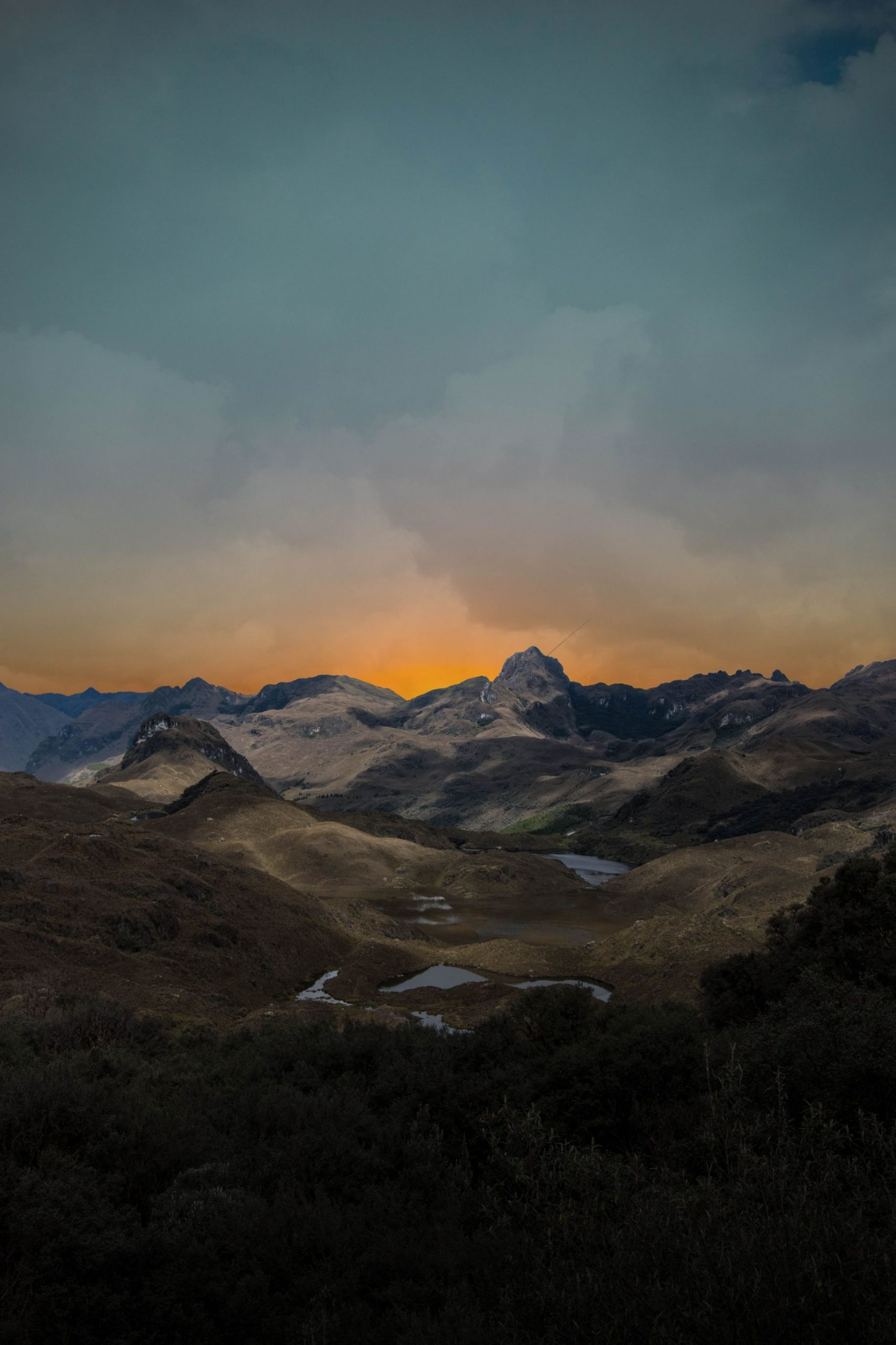 sunset over the mountains in Cajas National Park in Ecuador